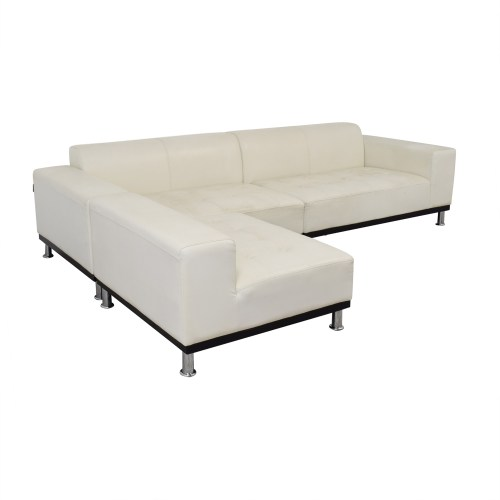 Medium Crop Of White Leather Sectional