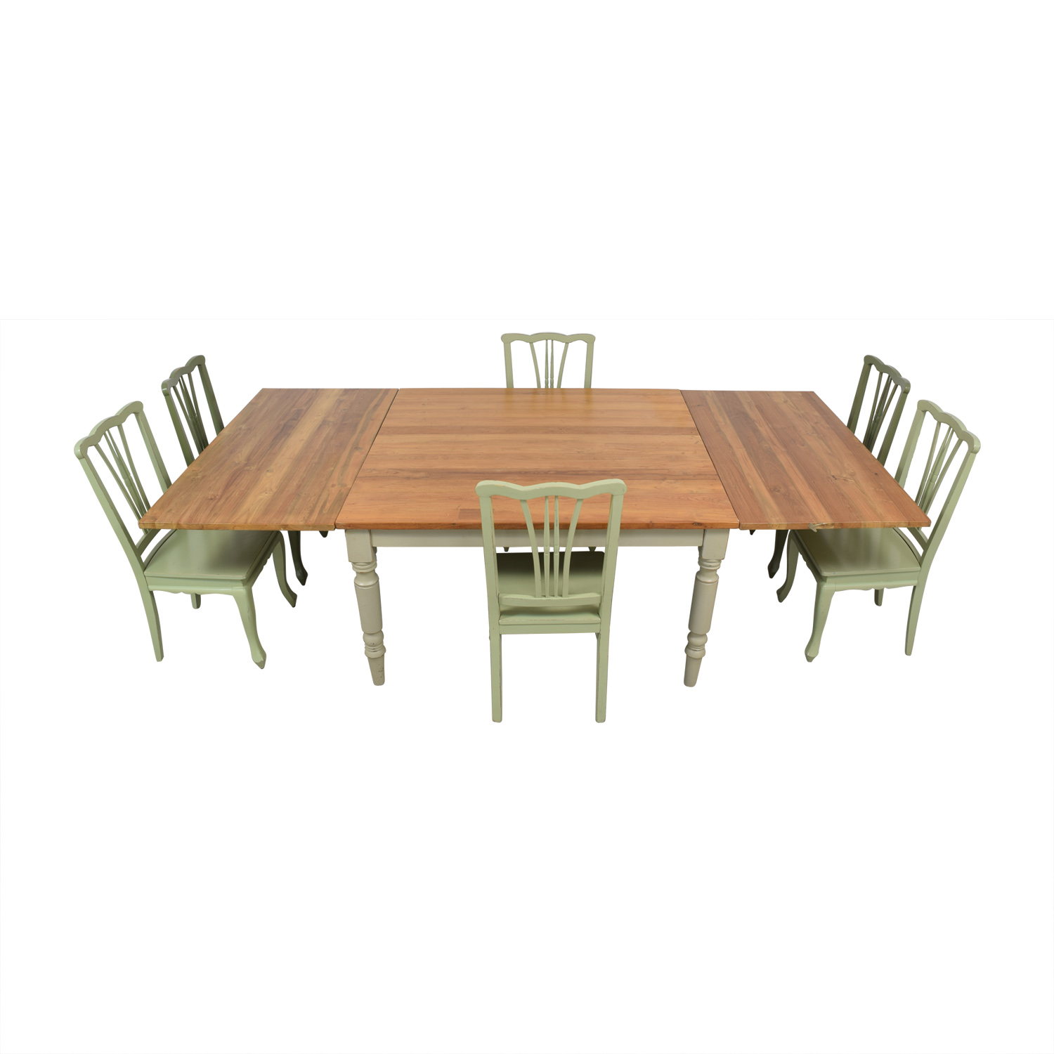 Second Hand Wood Sala Set 77 Off Wood Extendable Dining Set With Green Chairs