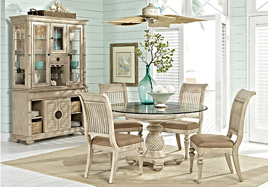 Key West Sand Beige 5 Pc Round Dining Room Slat Chairs