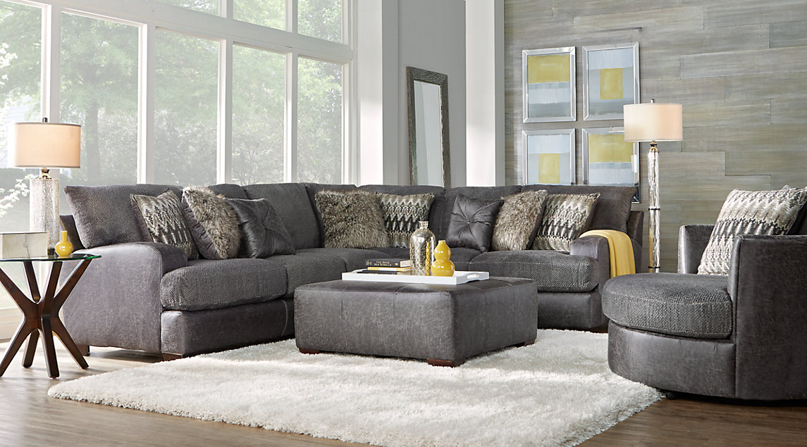 Gray, White & Gold Living Room Furniture & Decorating Ideas