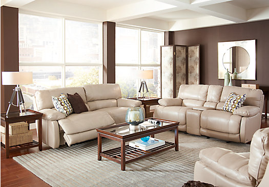 cindy crawford home gianna brown leather 2 pc living room