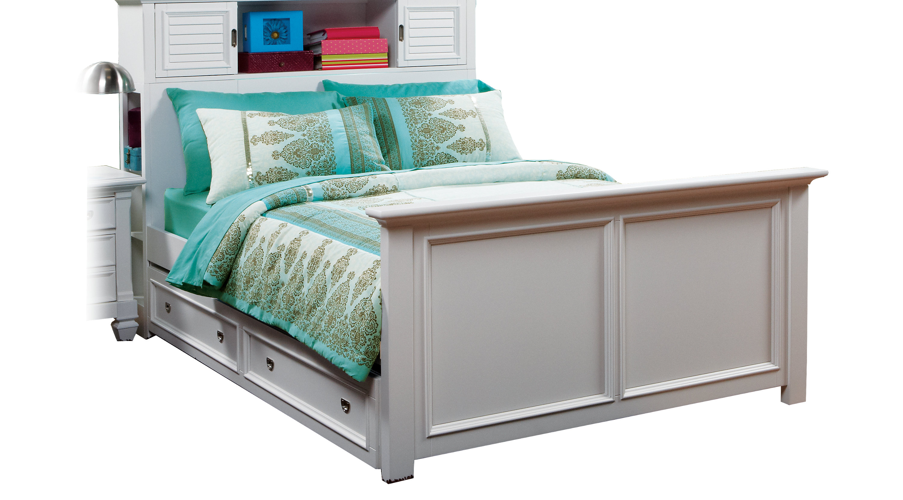 White Trundle Bed Belmar White 4 Pc Twin Bookcase Bed W Trundle