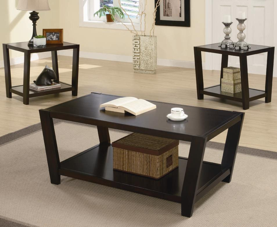 Coaster Occasional Table Sets 3-Piece Contemporary Round Coffee - 3 piece living room table set