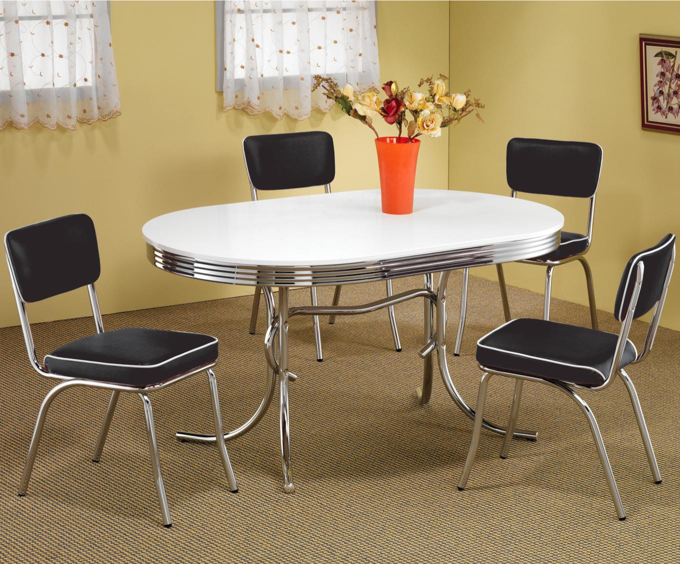 oval kitchen table Coaster Cleveland Chrome Plated Oval Dining Table Coaster Fine Furniture