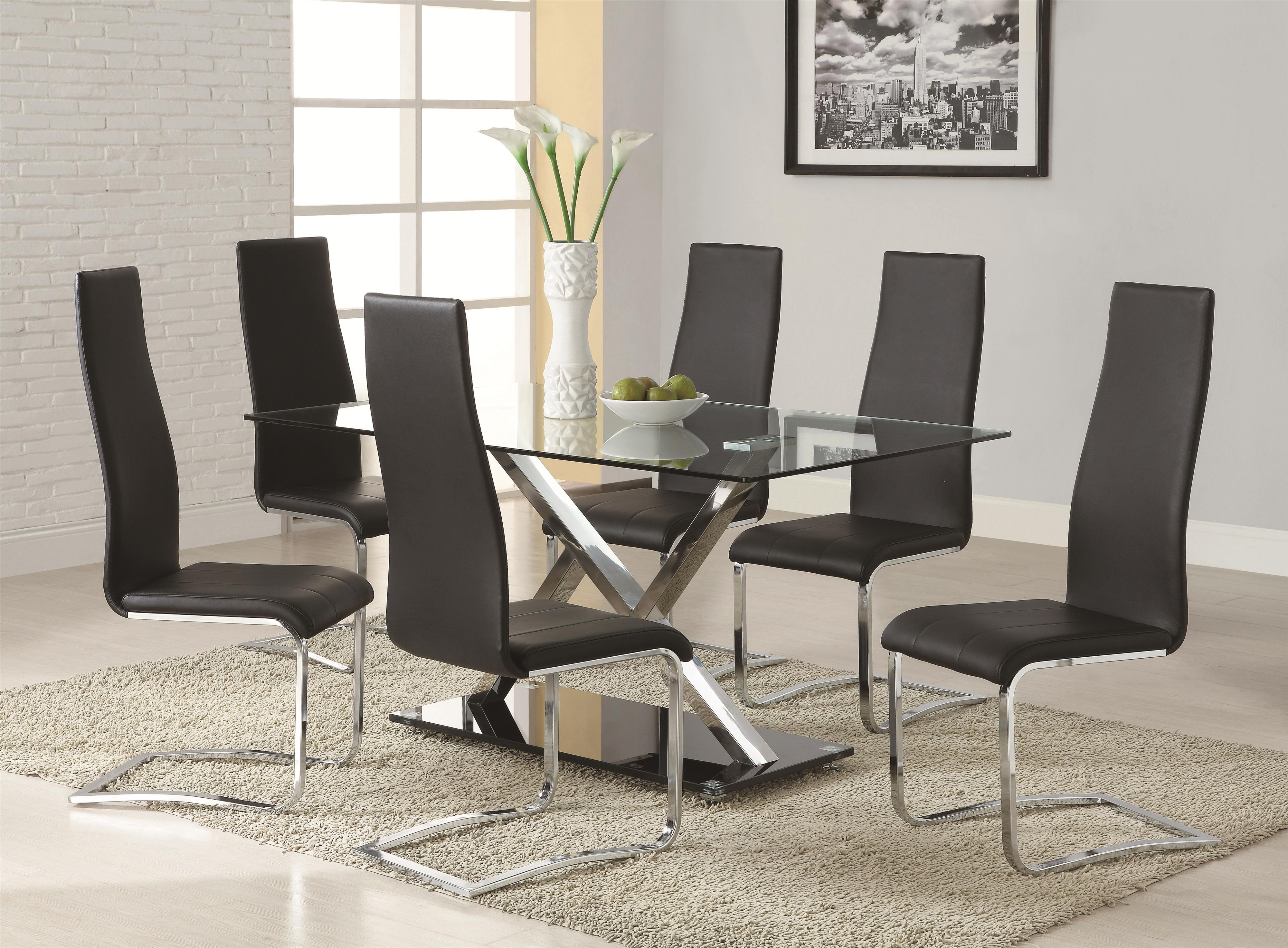 modern kitchen table chairs Coaster Modern Dining White Dining Table with Chrome Metal Base Coaster Fine Furniture