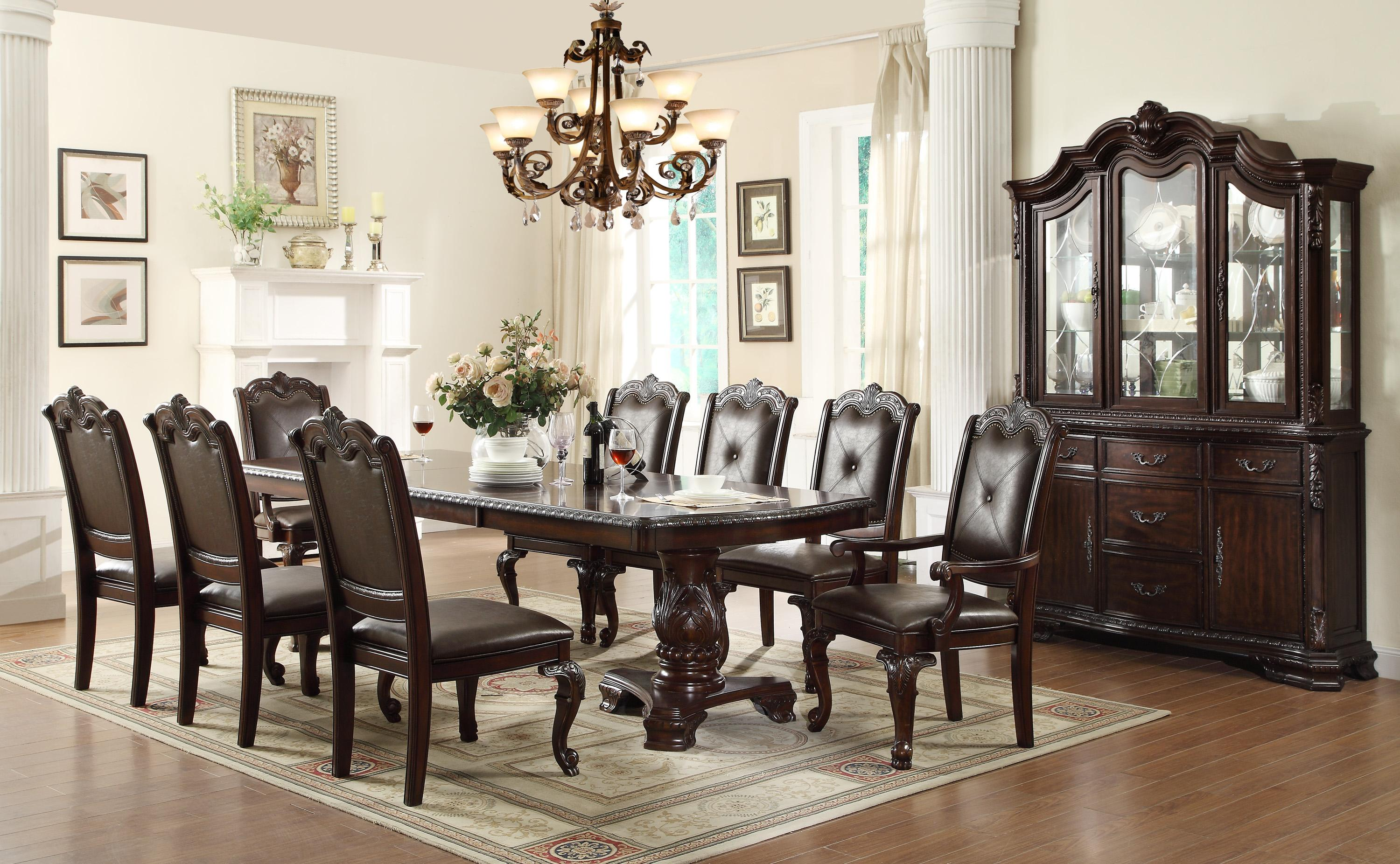 10 Seat Dining Table Set Crown Mark Kiera Traditonal Dining Table Set With 2 Arm Chairs And