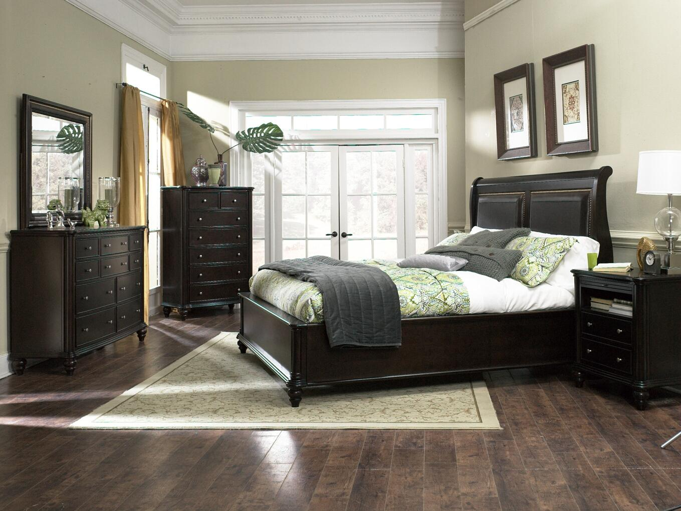 Furniture Brands Inc B7067 Queen Transitional Sleigh Bed With Leather Naihead Trim Bigfurniturewebsite Sleigh Bed