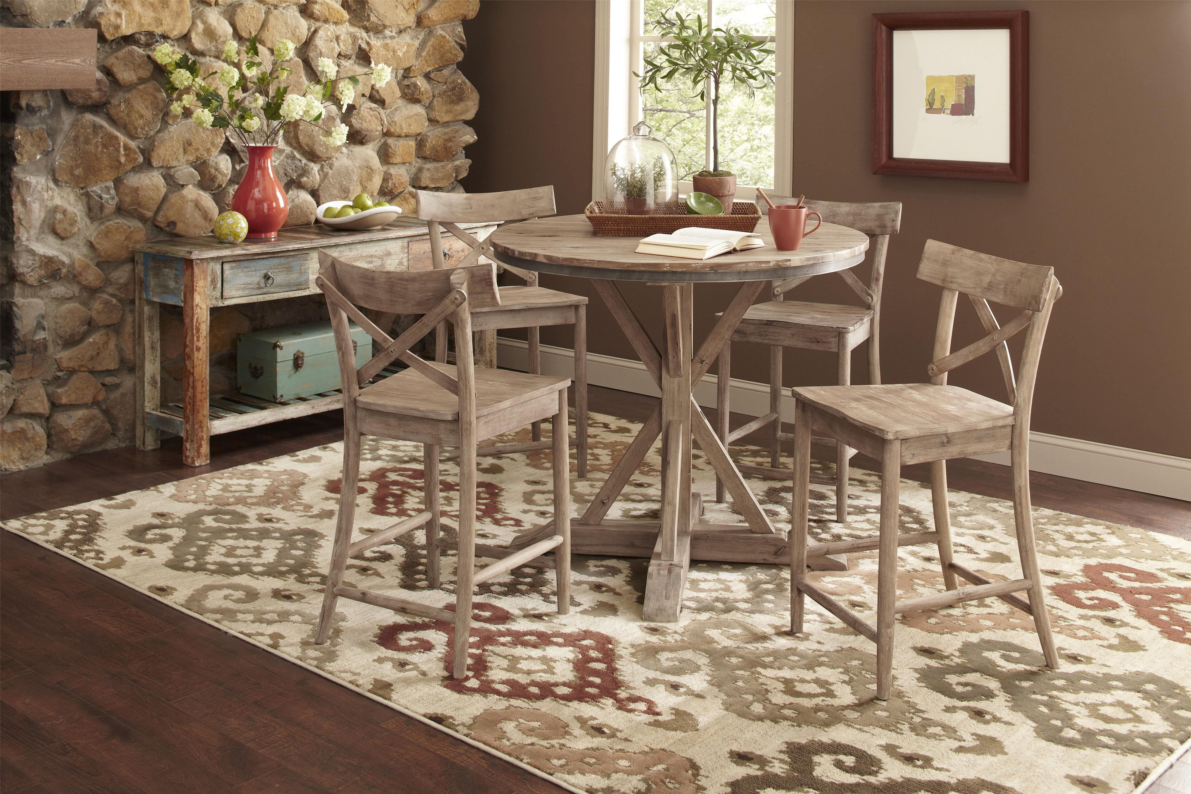 item round rustic kitchen table Largo Callista Rustic Casual Counter Height Dining Table Set Lindy s Furniture Company Pub Table and Stool Set