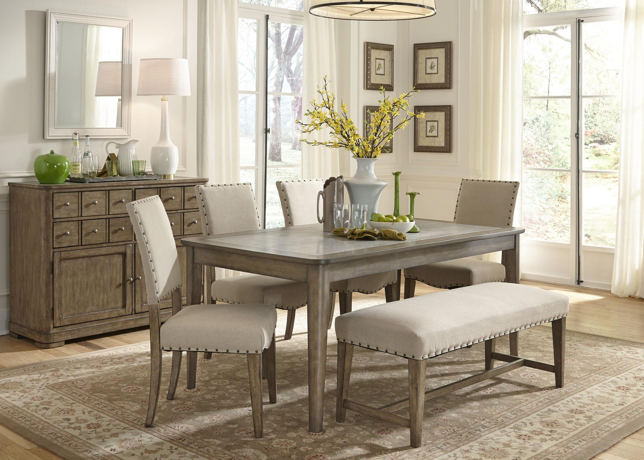 Weatherford rustic casual 6 piece dining table and chairs set with bench rotmans table chair set with bench worcester boston ma providence ri