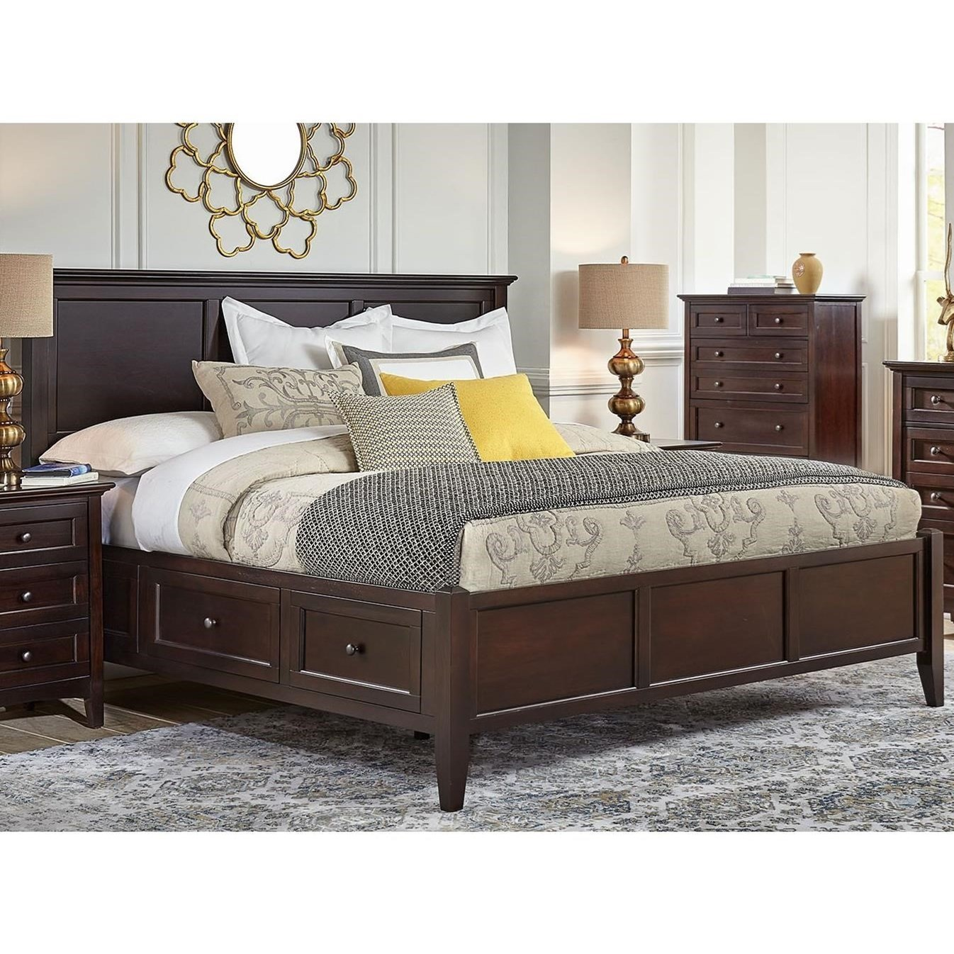 Aamerica Westlake Transitional California King Bed With 6 Storage Drawers Zak S Home Panel Beds
