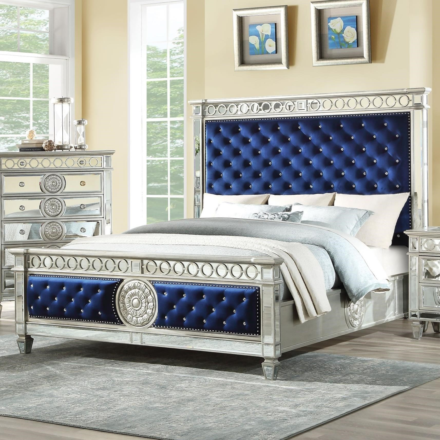 Acme Furniture Varian Glam Tufted California King Bed With Mirror Trim And Blue Velvet Upholstery A1 Furniture Mattress Upholstered Beds