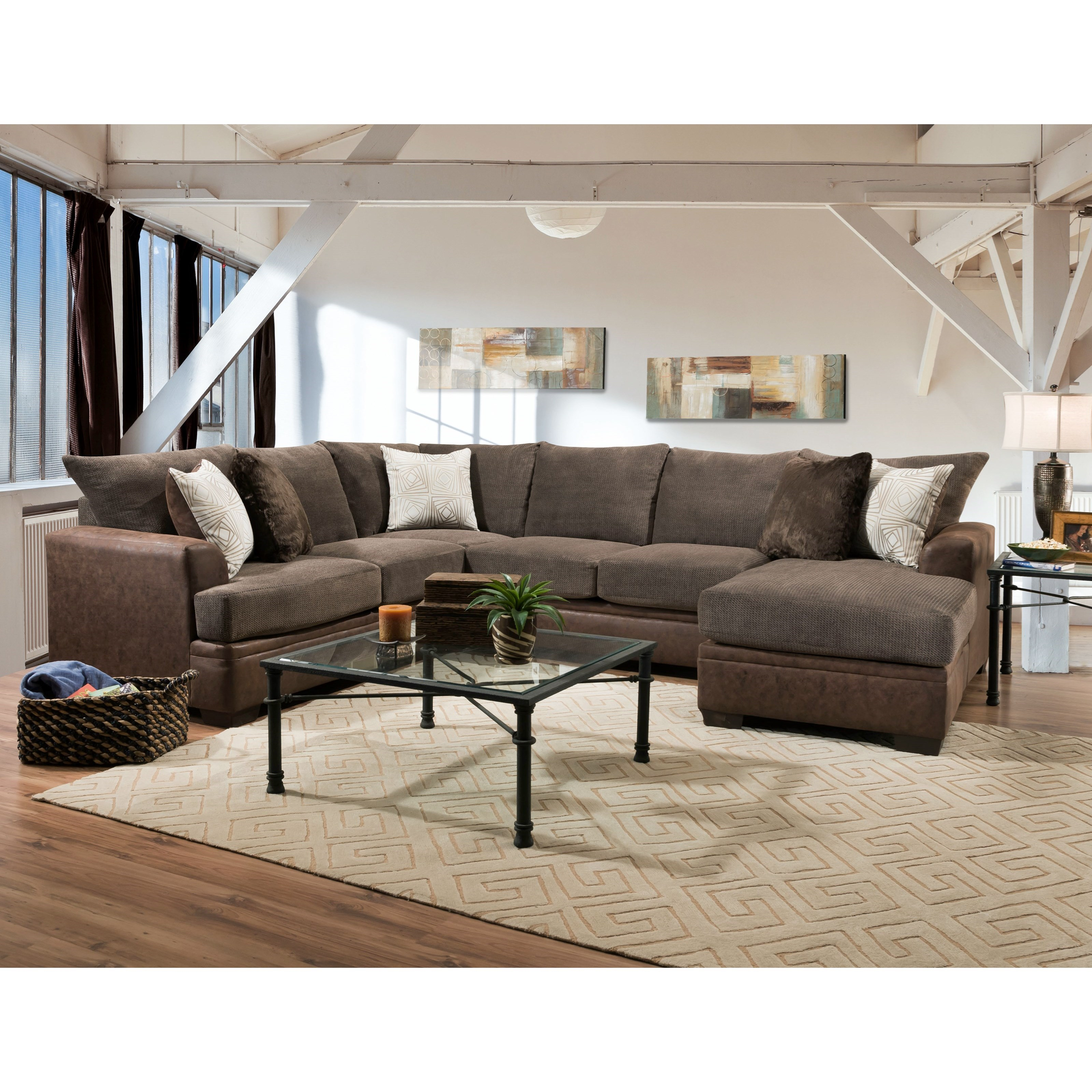 Peak Living 6800 Sectional Sofa With Right Side Chaise Prime Brothers Furniture Sectional Sofas