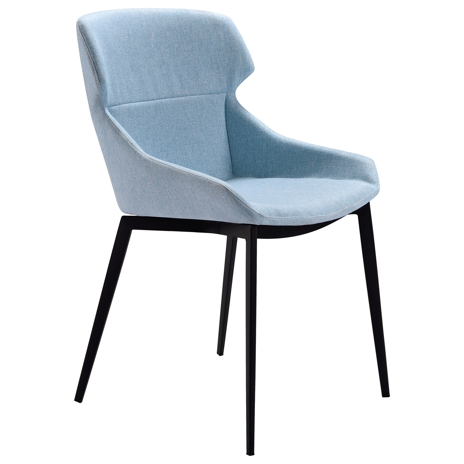 Kenna Modern Dining Chairs In Matte Black Finish With Blue Fabric Set Of 2 Sadler S Home Furnishings Dining Side Chairs