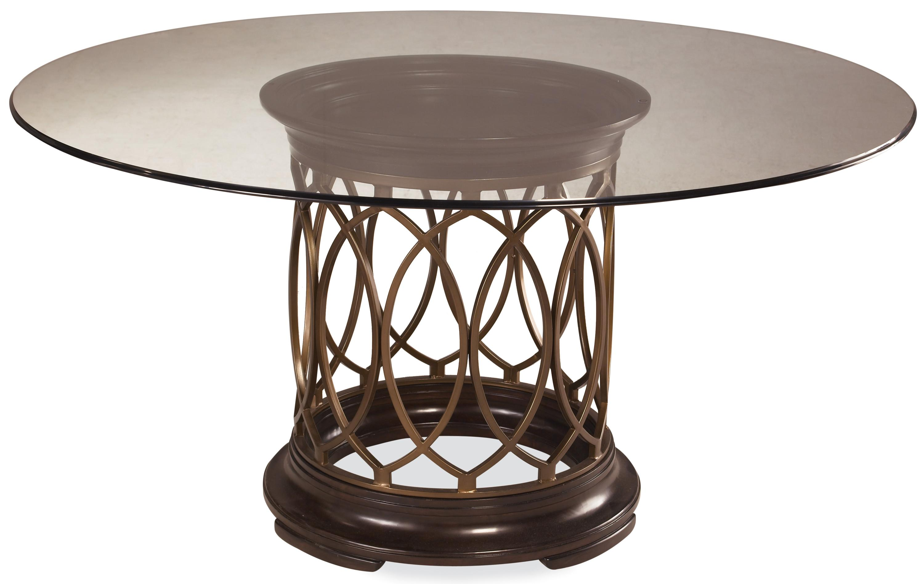 Round Glass Top Dining Table Intrigue Round Glass Top Single Pedestal Dining Table With Metal Marquise Detail By A R T Furniture Inc At Olinde S Furniture