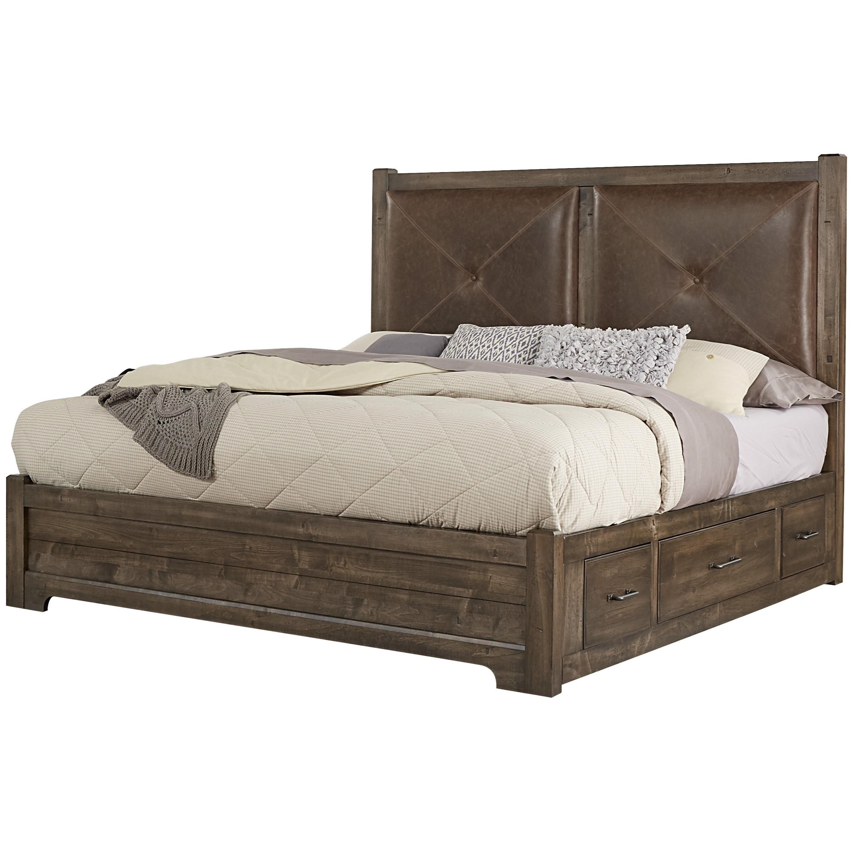 Leather Bed Frame Cool Rustic King Leather Bed With Side Storage By Artisan Post By Vaughan Bassett At Becker Furniture World