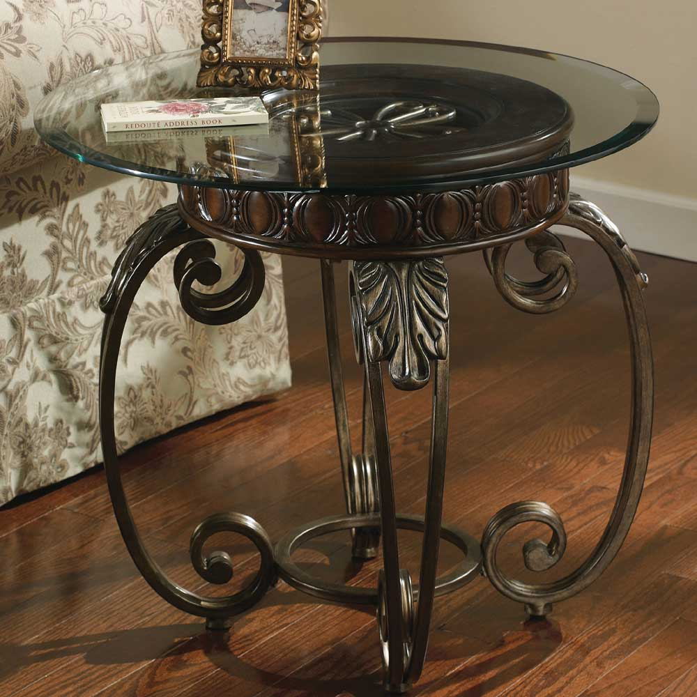 Metal Glass End Tables Tullio Metal Round End Table With Glass Top By Signature Design By Ashley At Del Sol Furniture