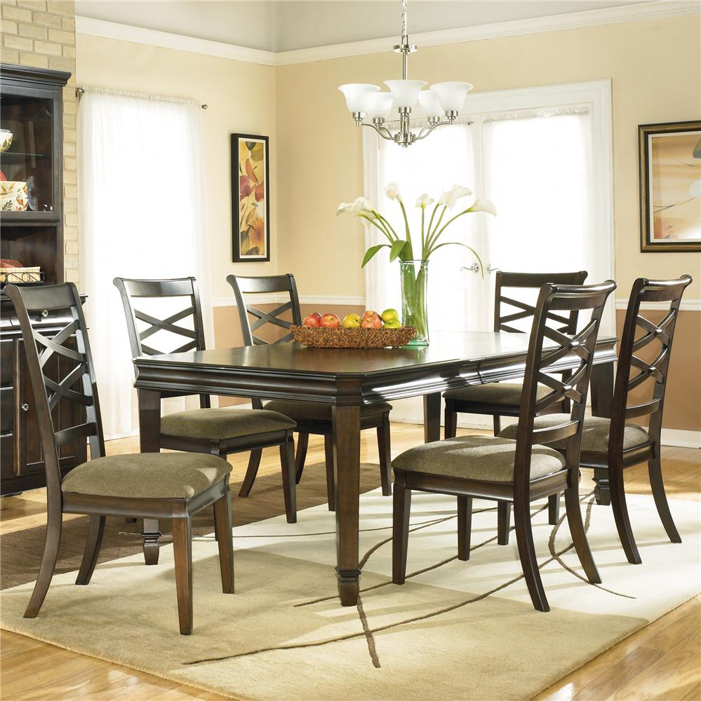 Modern Furniture Wichita Ks Ashley Furniture Hayley Contemporary 7 Piece Dining Set With X
