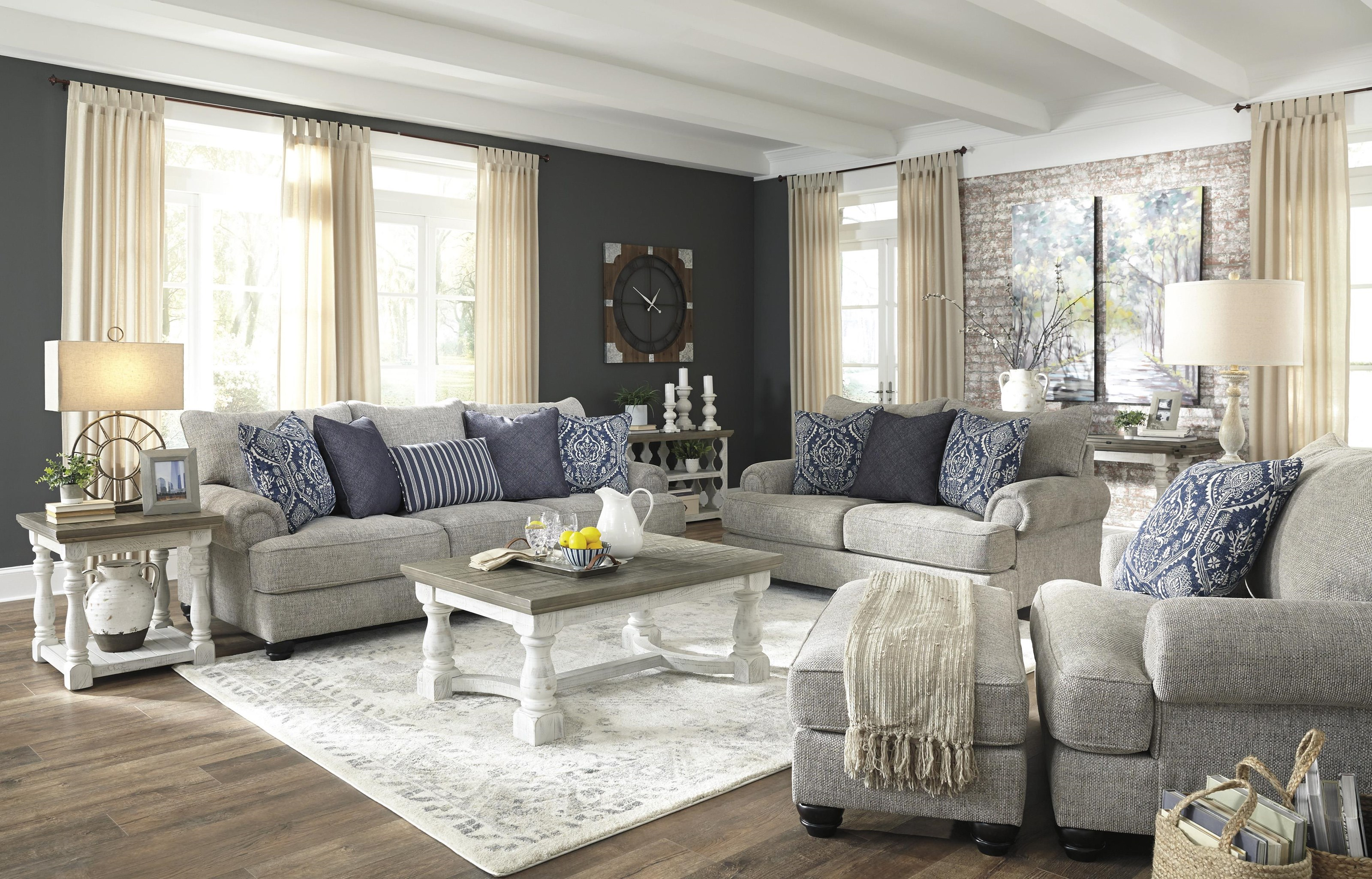 Ashley Furniture Morren 22301238 23 14 Dusk Sofa Chair And Ottoman Set Sam Levitz Outlet Stationary Living Room Groups