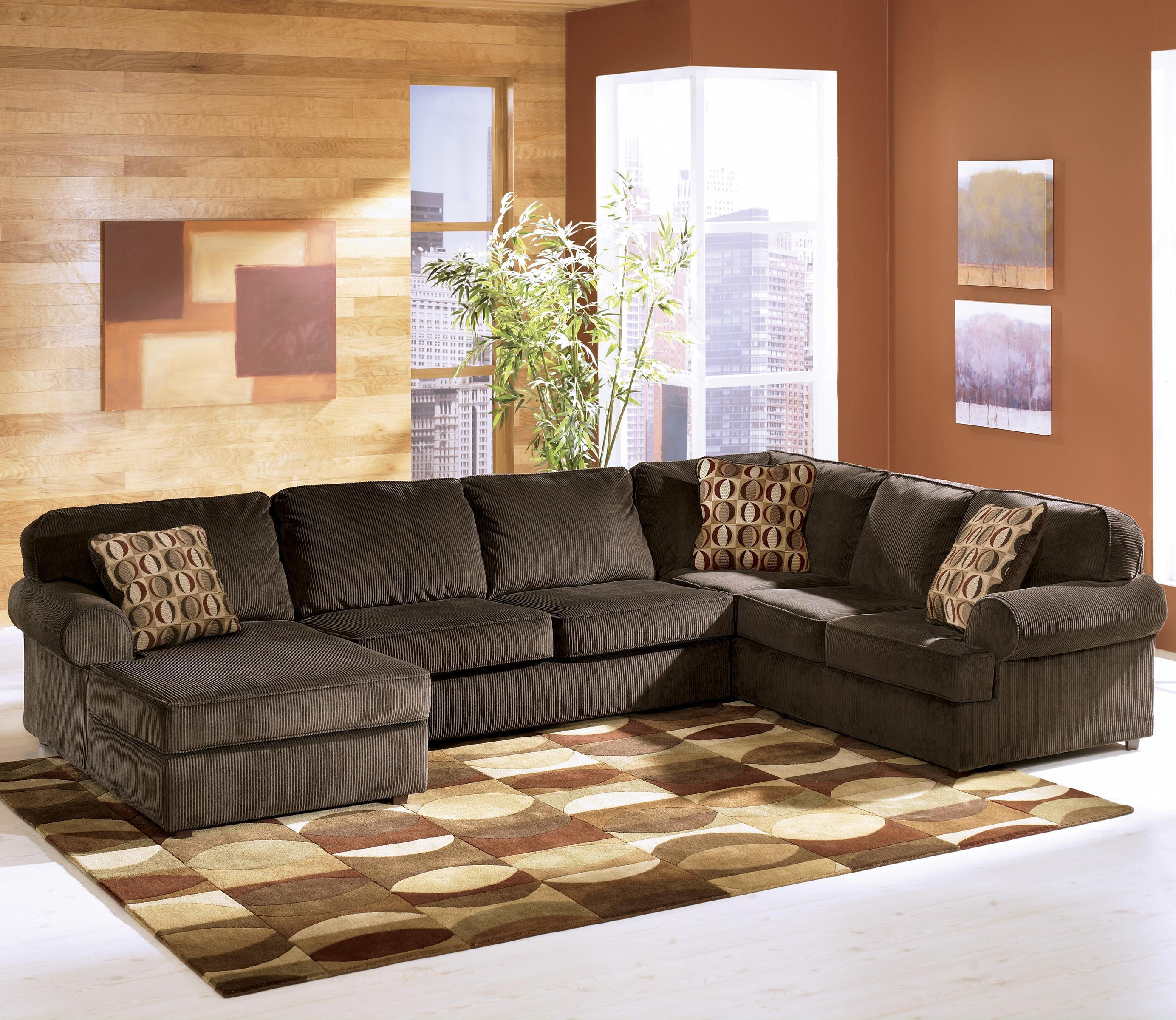 Chaise Style Vista Chocolate Casual 3 Piece Sectional With Left Chaise By Ashley Furniture At Northeast Factory Direct