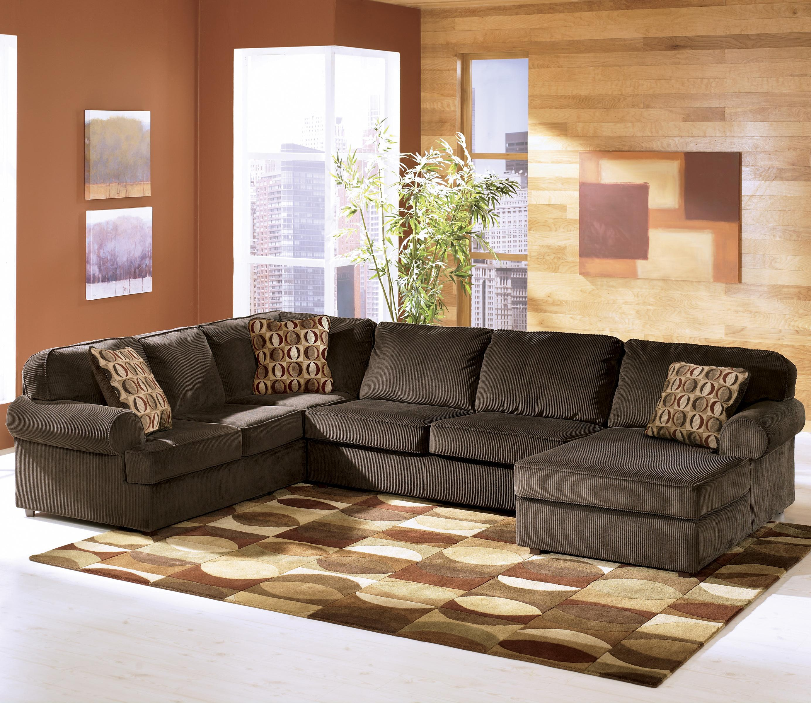 Chocolate Corduroy Sofa Vista Chocolate Casual 3 Piece Sectional With Right Chaise By Ashley Furniture At Lapeer Furniture Mattress Center