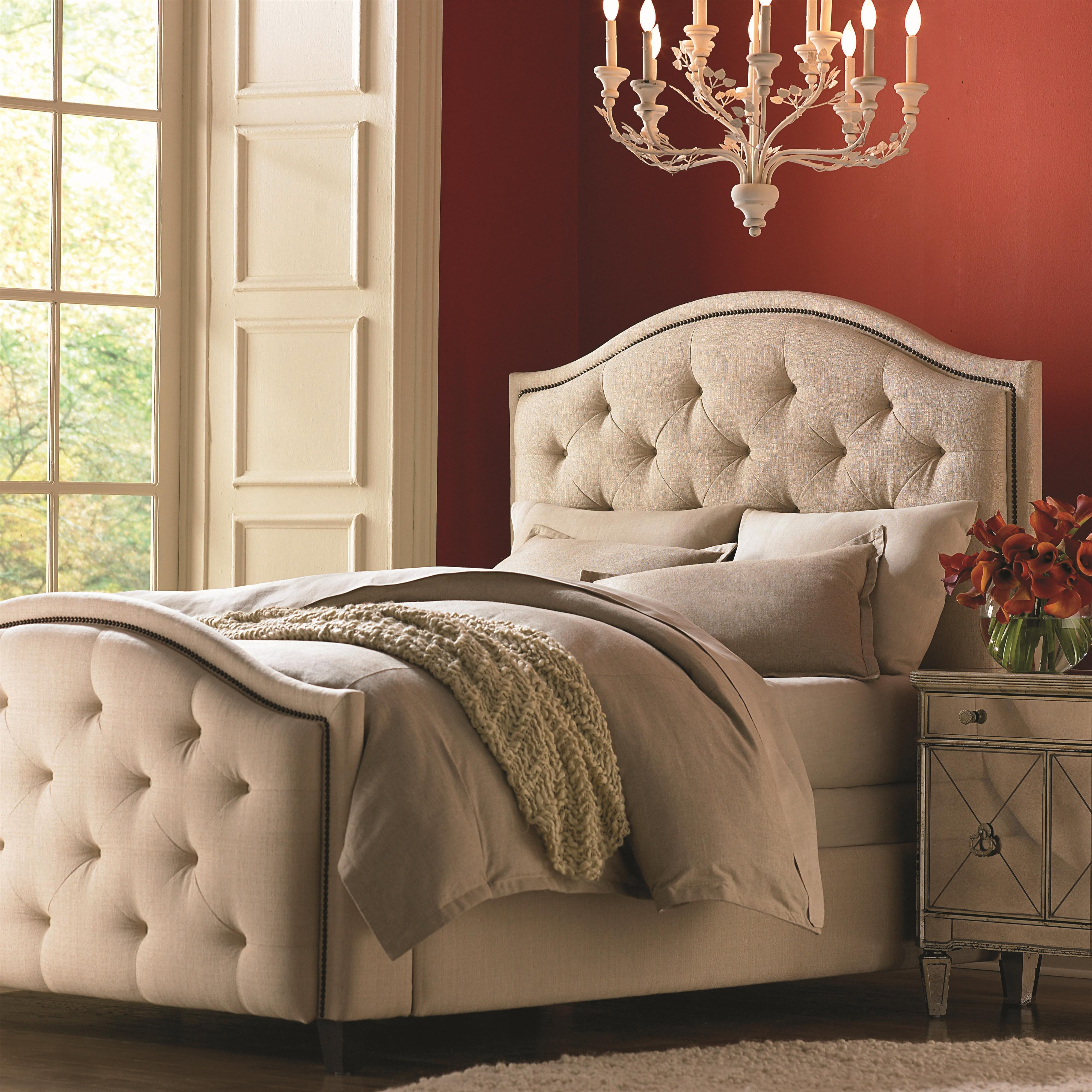 Bed Headboard Custom Upholstered Beds Queen Vienna Upholstered Headboard And High Footboard Bed By Bassett At Suburban Furniture