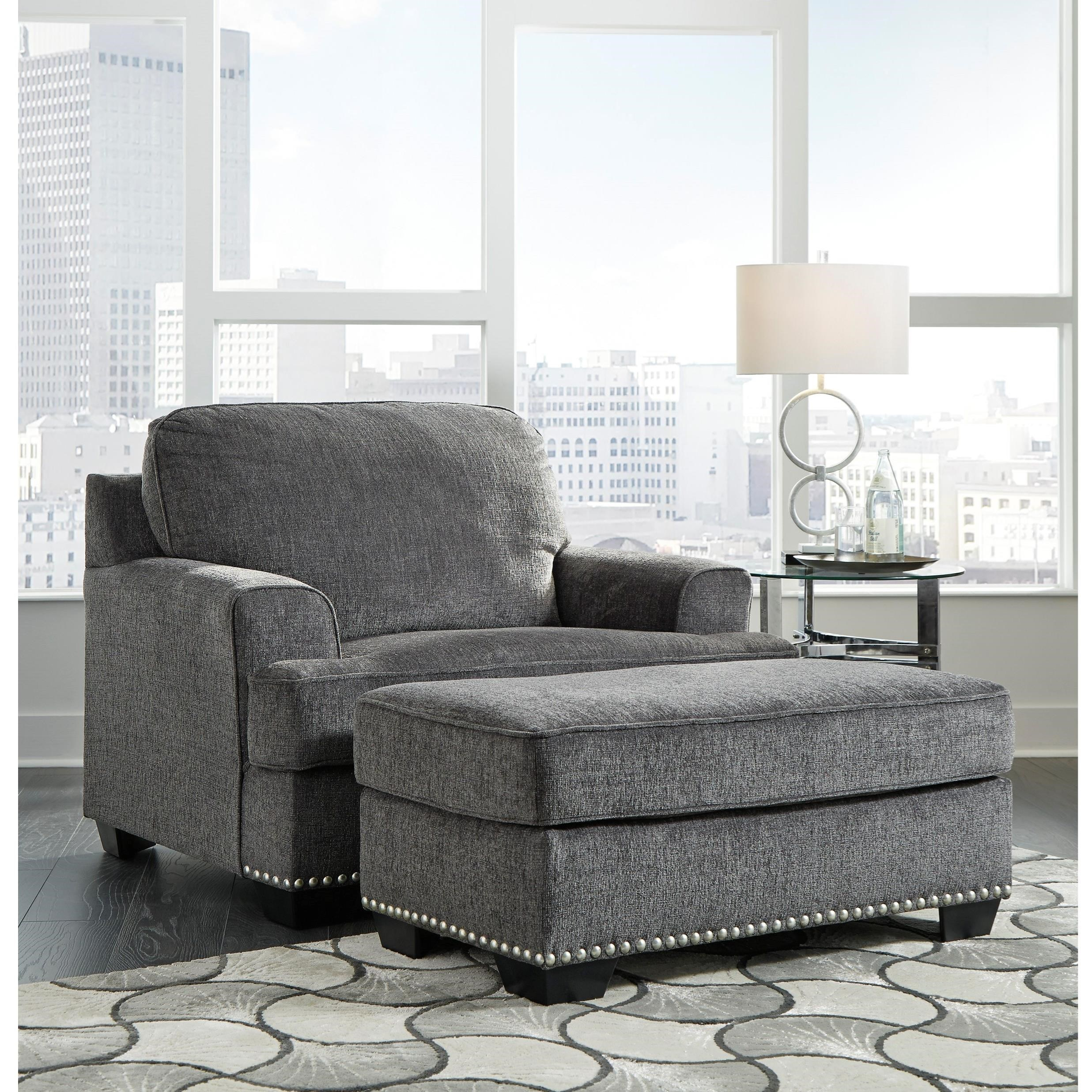 Chair Ottoman Locklin Transitional Chair And A Half With Ottoman By Benchcraft At Lindy S Furniture Company