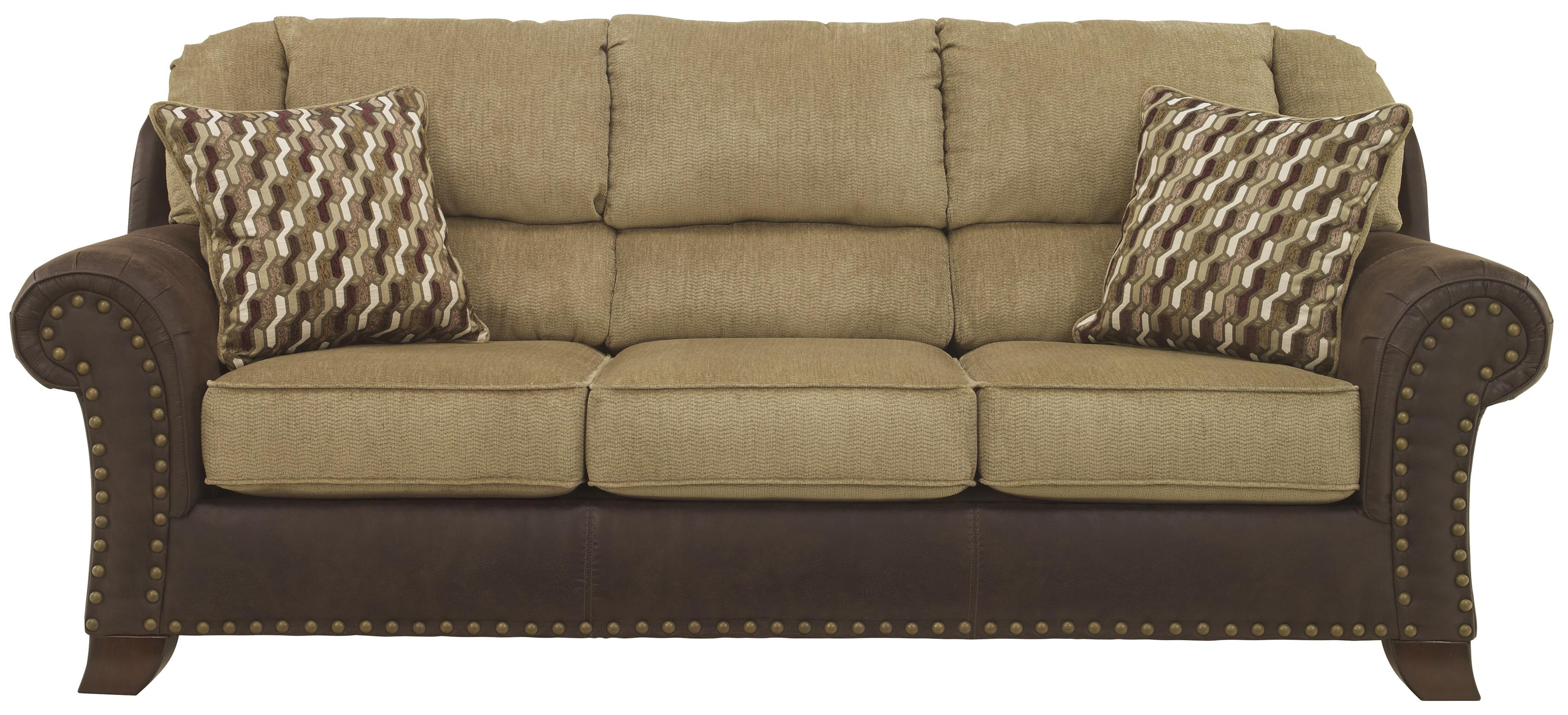 Accent Chairs To Go With Brown Leather Sofa Vandive Two Tone Sofa With Chenille Fabric Faux Leather Upholstery By Benchcraft At Household Furniture
