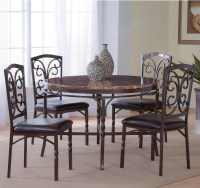 Bernards Tuscan 5-Piece Metal/Faux Marble Dinette Table ...