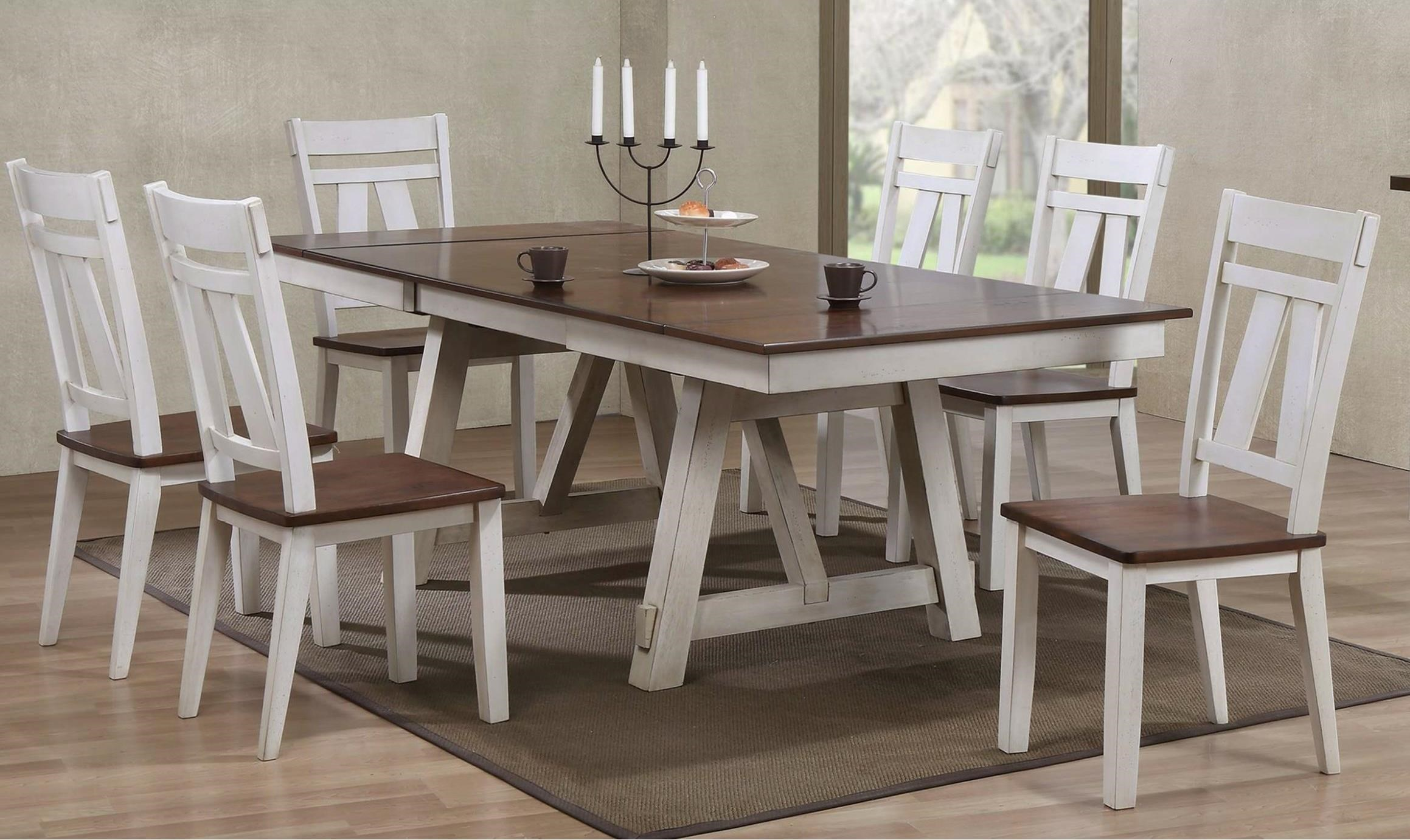Bernards Winslow 7 Piece Two Tone Refectory Table Set Royal Furniture Dining 7 Or More