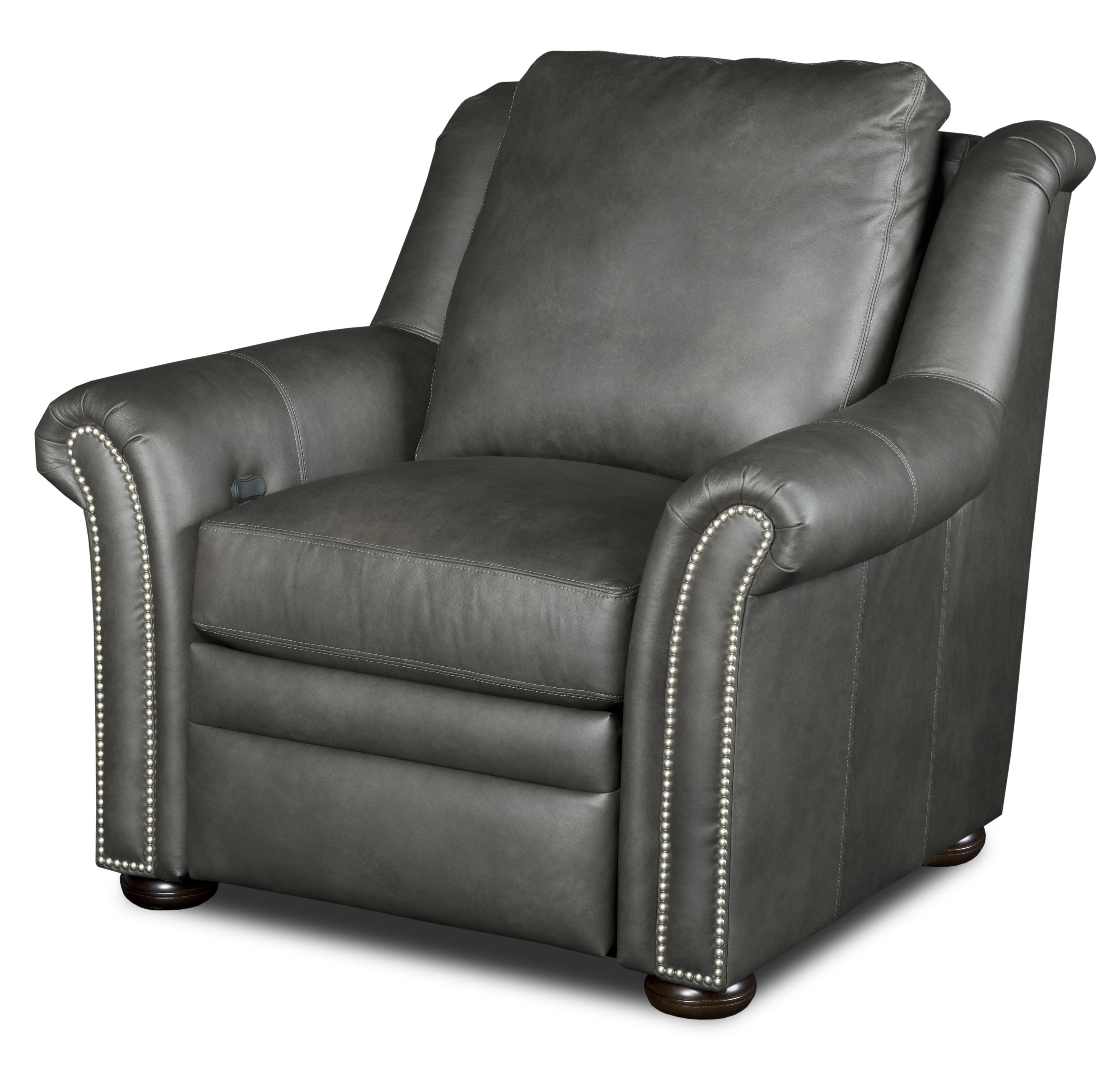 Bradington Young Newman Transitional Power Reclining Chair With Nailheads Lindy S Furniture Company High Leg Recliners