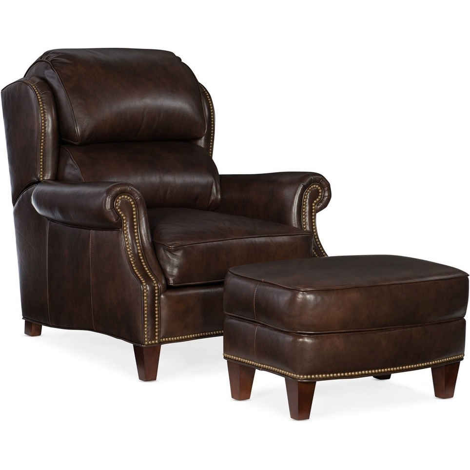 Bradington Young Taylor Transitional Tilt Back Leather Chair And Ottoman Set Sprintz Furniture Chair Ottoman Sets