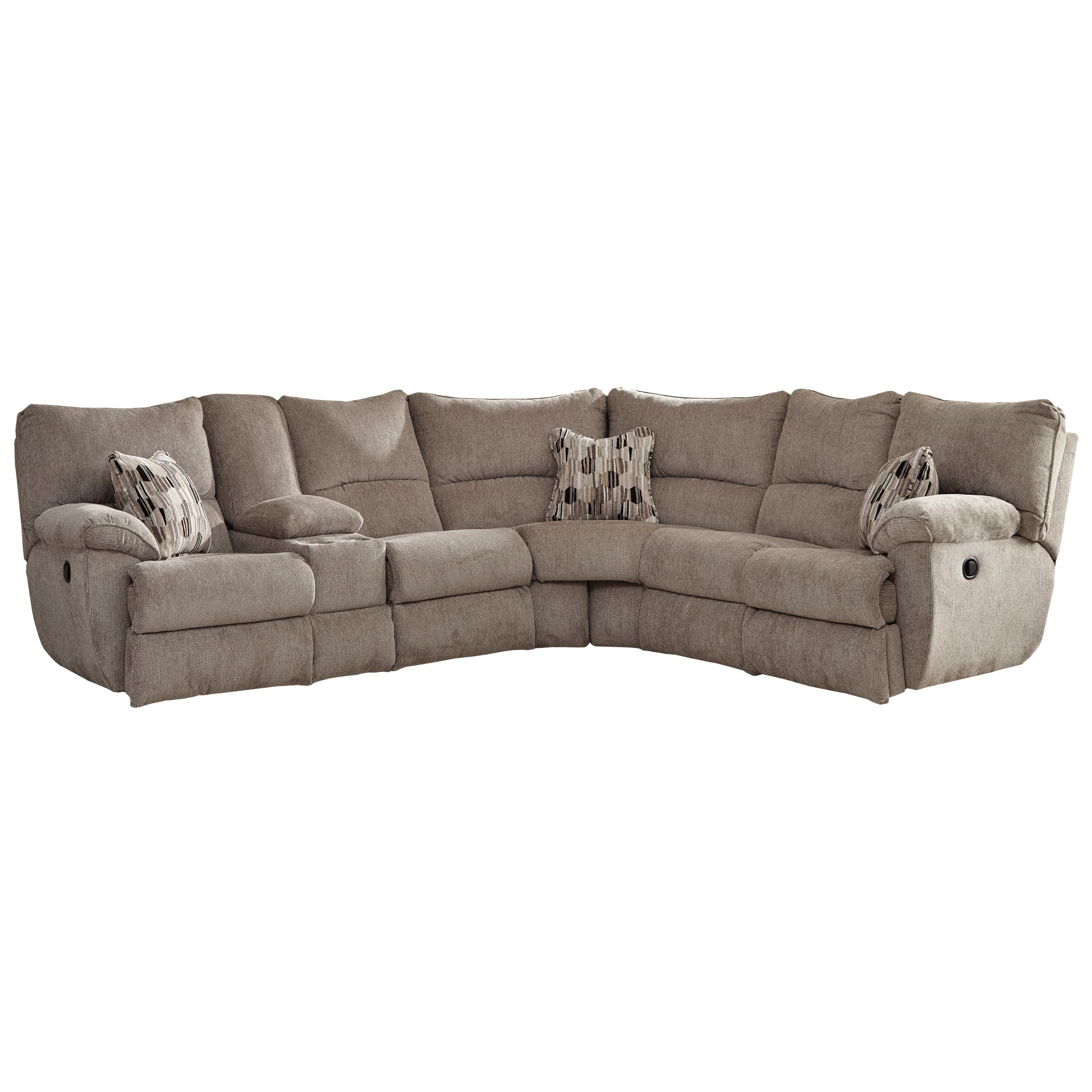 Catnapper Elliott Lay Flat Sectional Sofa With Storage Console Lindy S Furniture Company Reclining Sectional Sofas