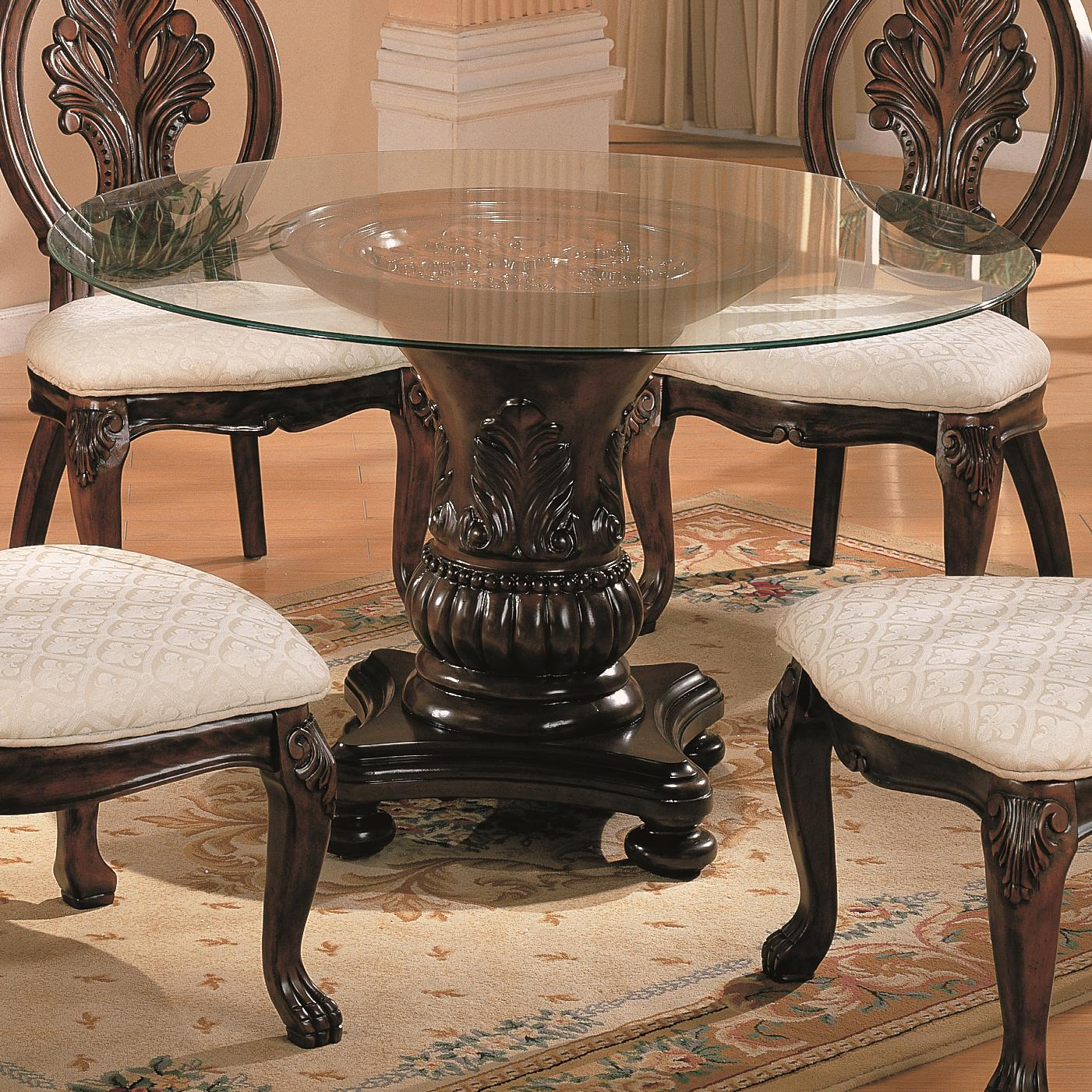 Round Glass Top Dining Table Coaster Tabitha Traditional Round Dining Table With Glass Top