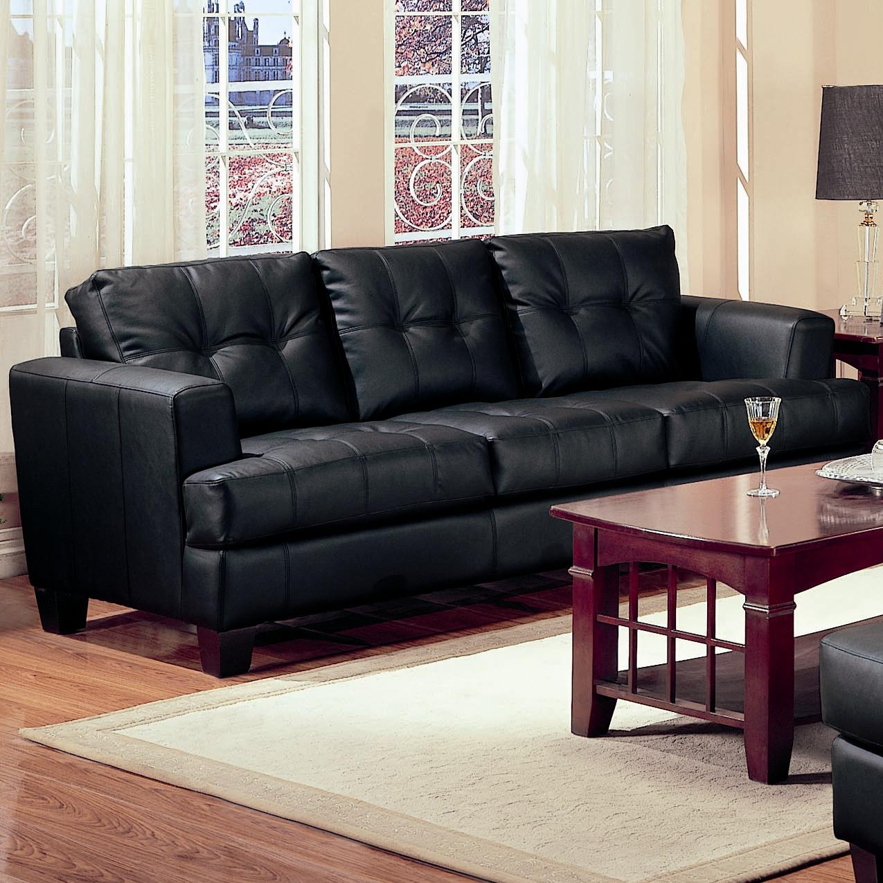 Coaster Samuel Contemporary Leather Sofa Furniture Superstore Rochester Mn Sofas