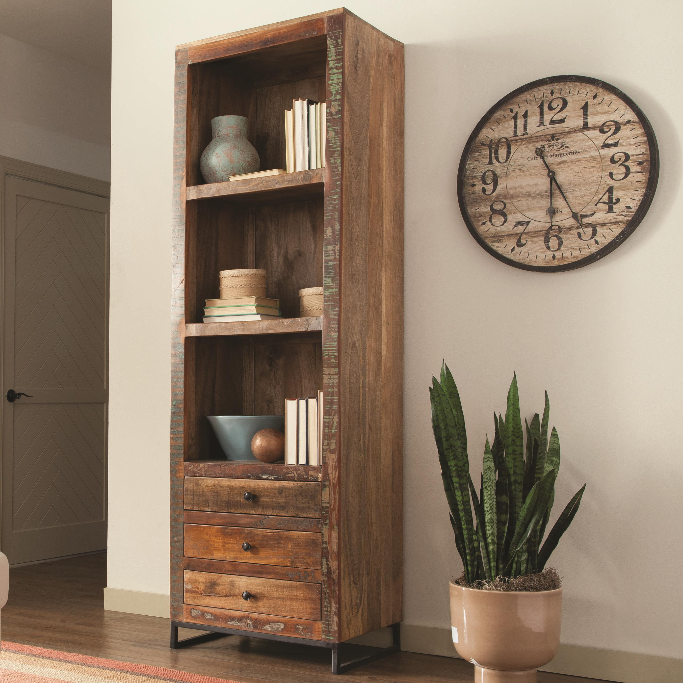Open Cabinet Accent Cabinets Tall Open Bookcase By Coaster At Rooms For Less