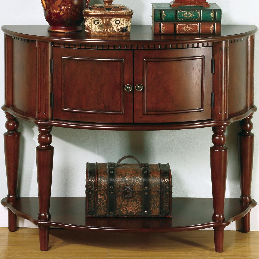 Vintage Hall Table Accent Tables Brown Entry Table With Curved Front Inlay Shelf By Coaster At Value City Furniture