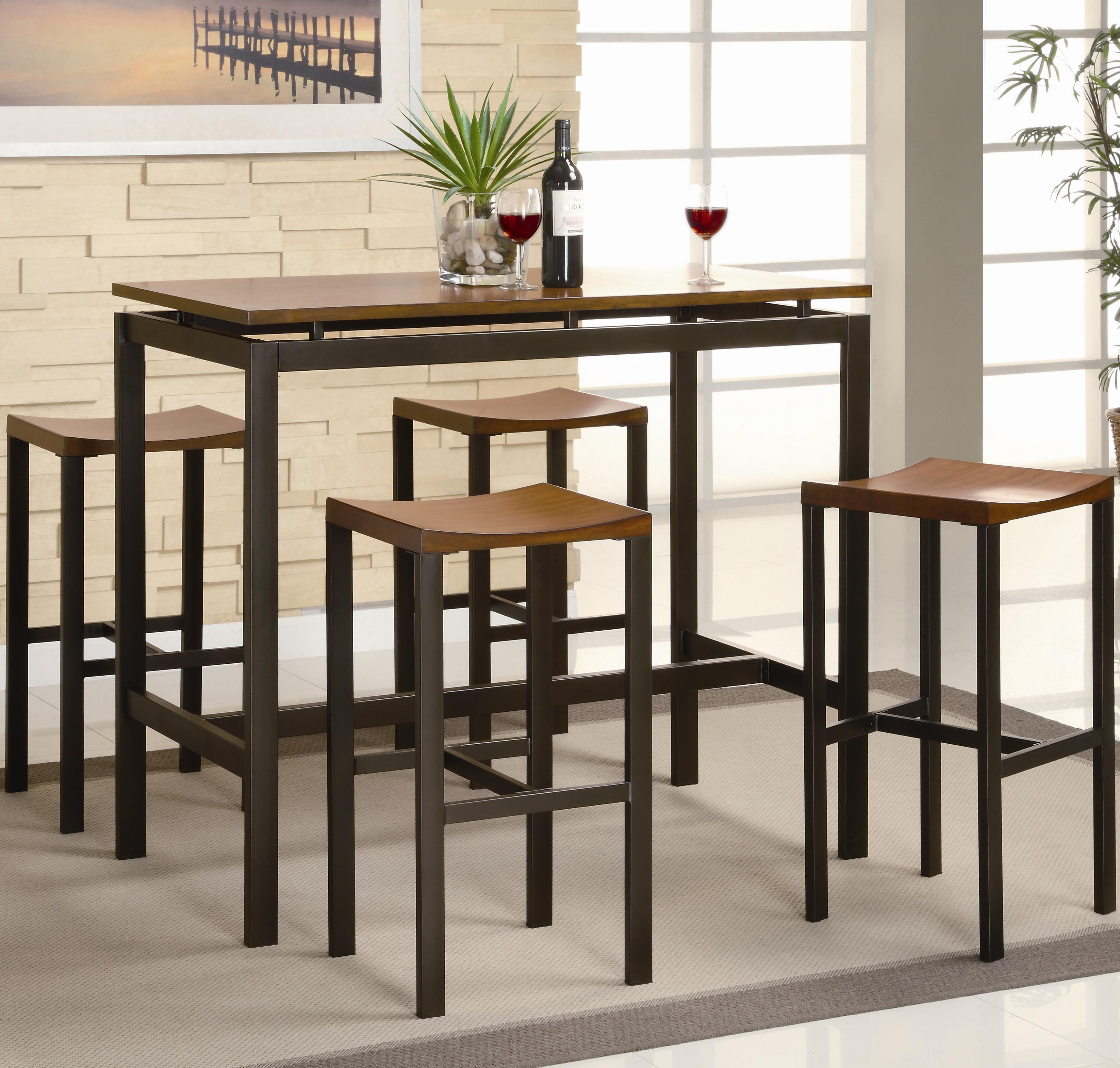 High Bench Table Coaster Atlus 150097 5 Piece Counter Height Dining Set