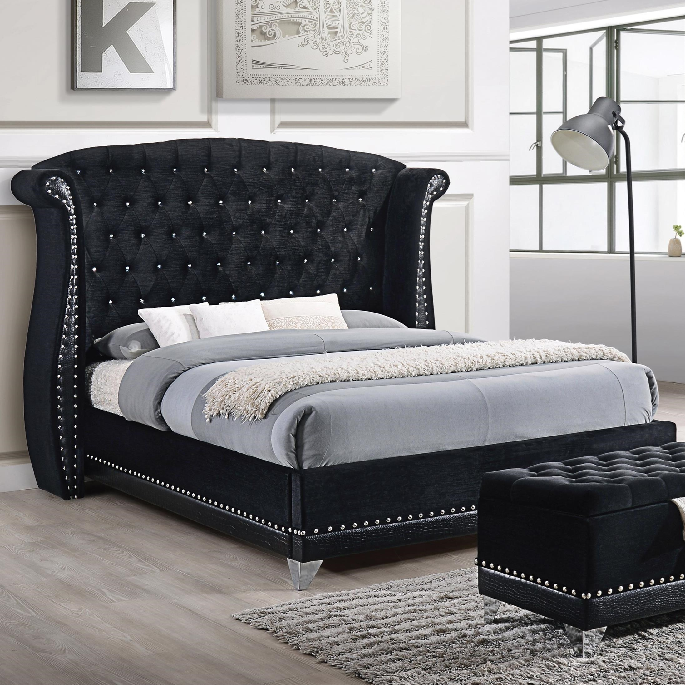 Coaster Barzini Glamorous Upholstered California King Bed A1 Furniture Mattress Upholstered Beds