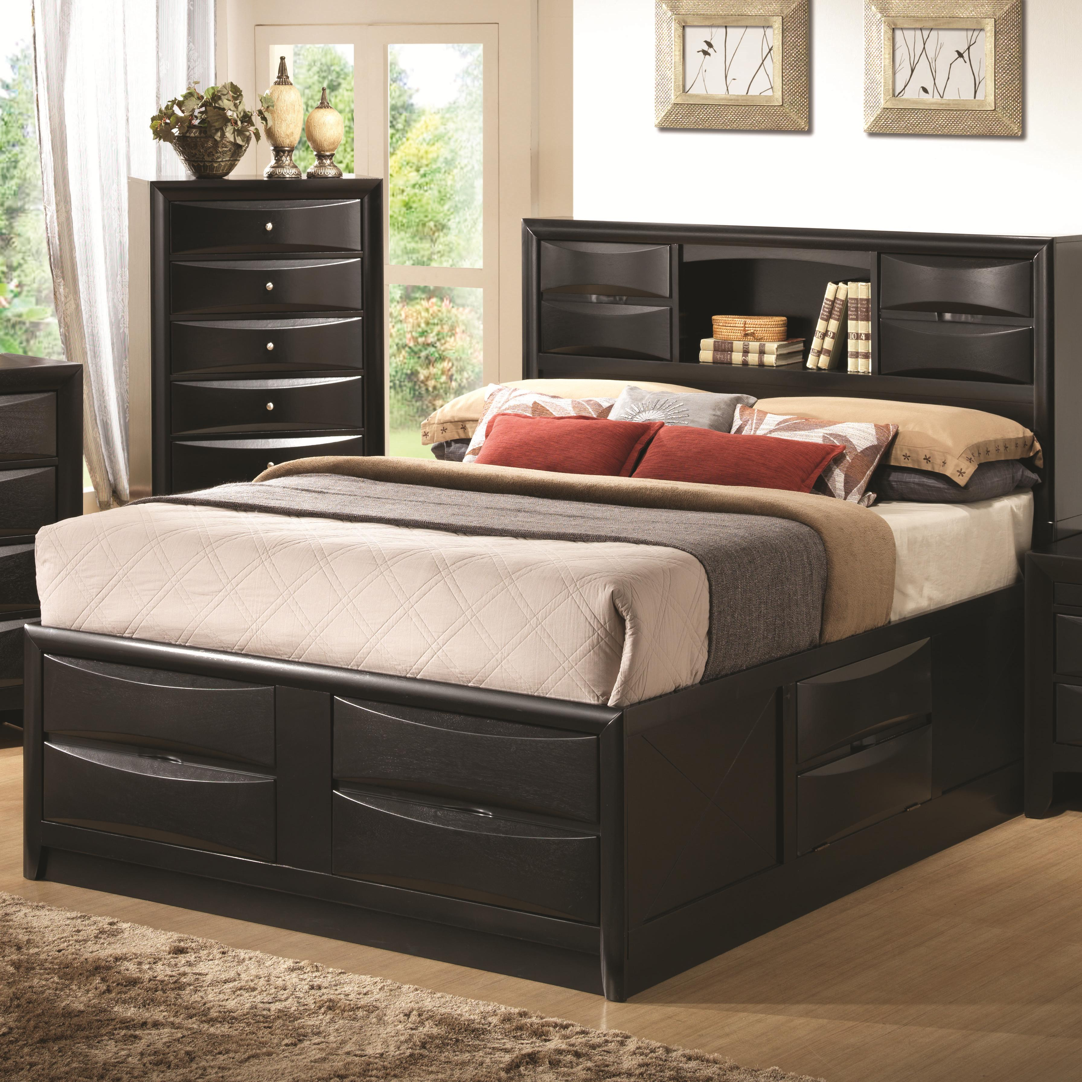 Coaster Briana King Contemporary Storage Bed With Bookshelf A1 Furniture Mattress Bookcase Beds