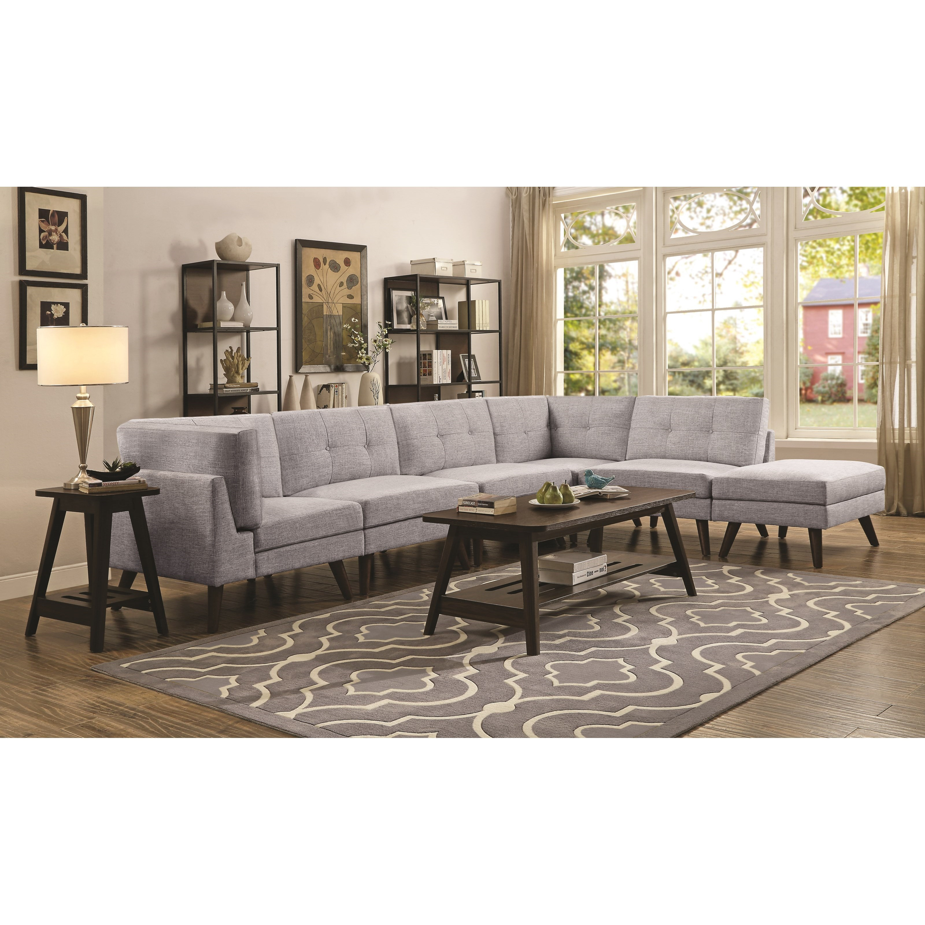 Coaster Churchill Mid Century Modern 4 Seat Sectional With Button Tufted Cushions Value City Furniture Sectional Sofas