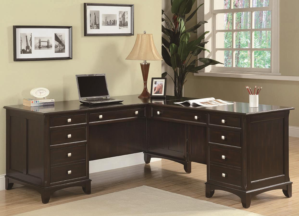 Desks With Drawers Garson L Shaped Desk With 8 Drawers By Coaster At Dunk Bright Furniture