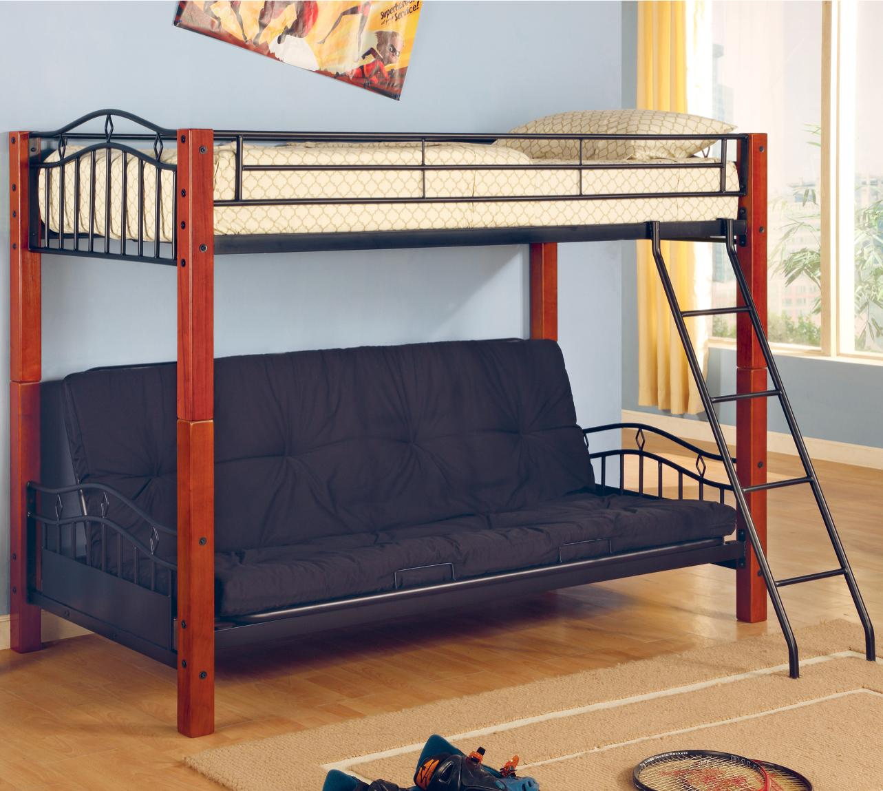 Cheap Kids Beds Online Haskell Metal And Wood Casual Twin Over Futon Bunk Bed By Coaster At Value City Furniture