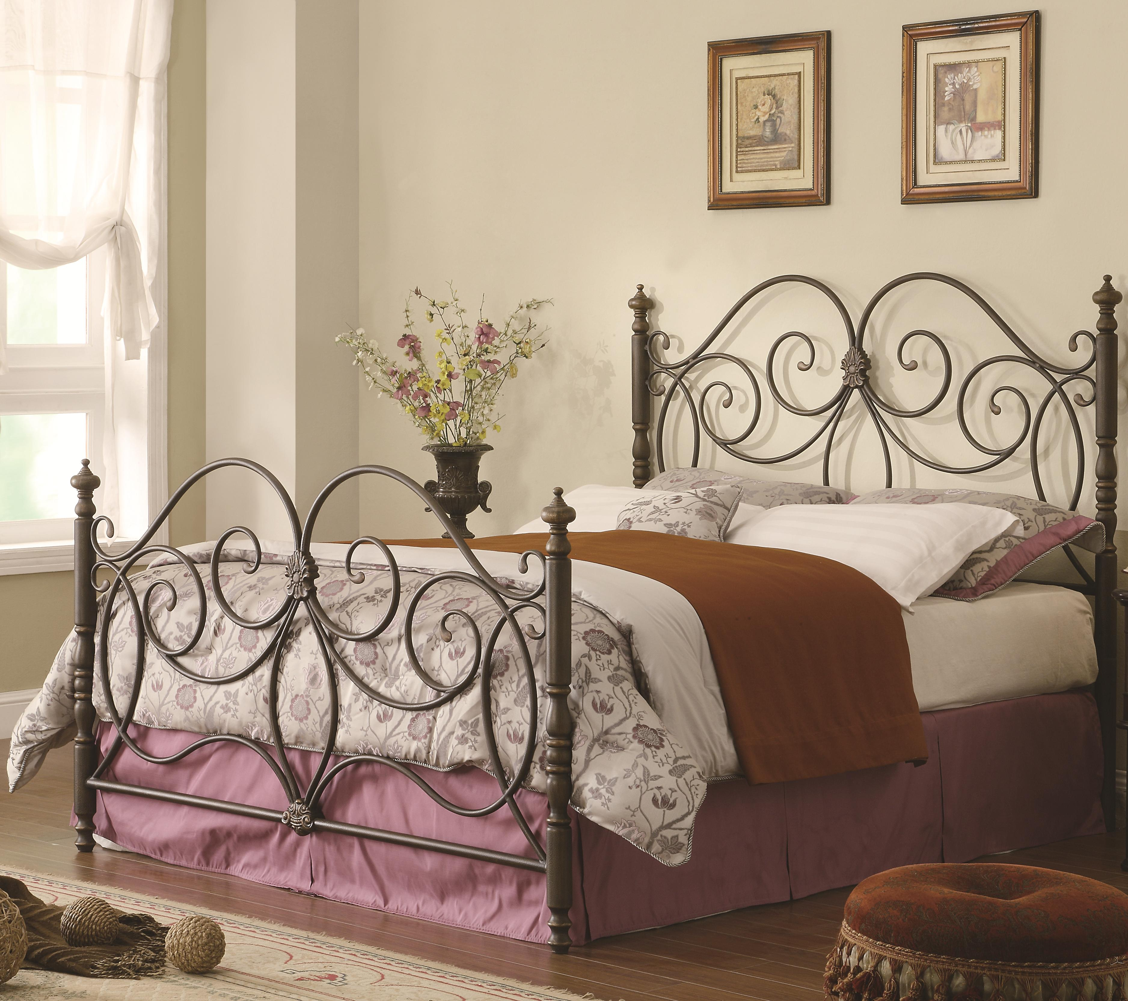 Metal Bed Headboards Iron Beds And Headboards Queen Iron Bed With Scroll Details By Coaster At A1 Furniture Mattress