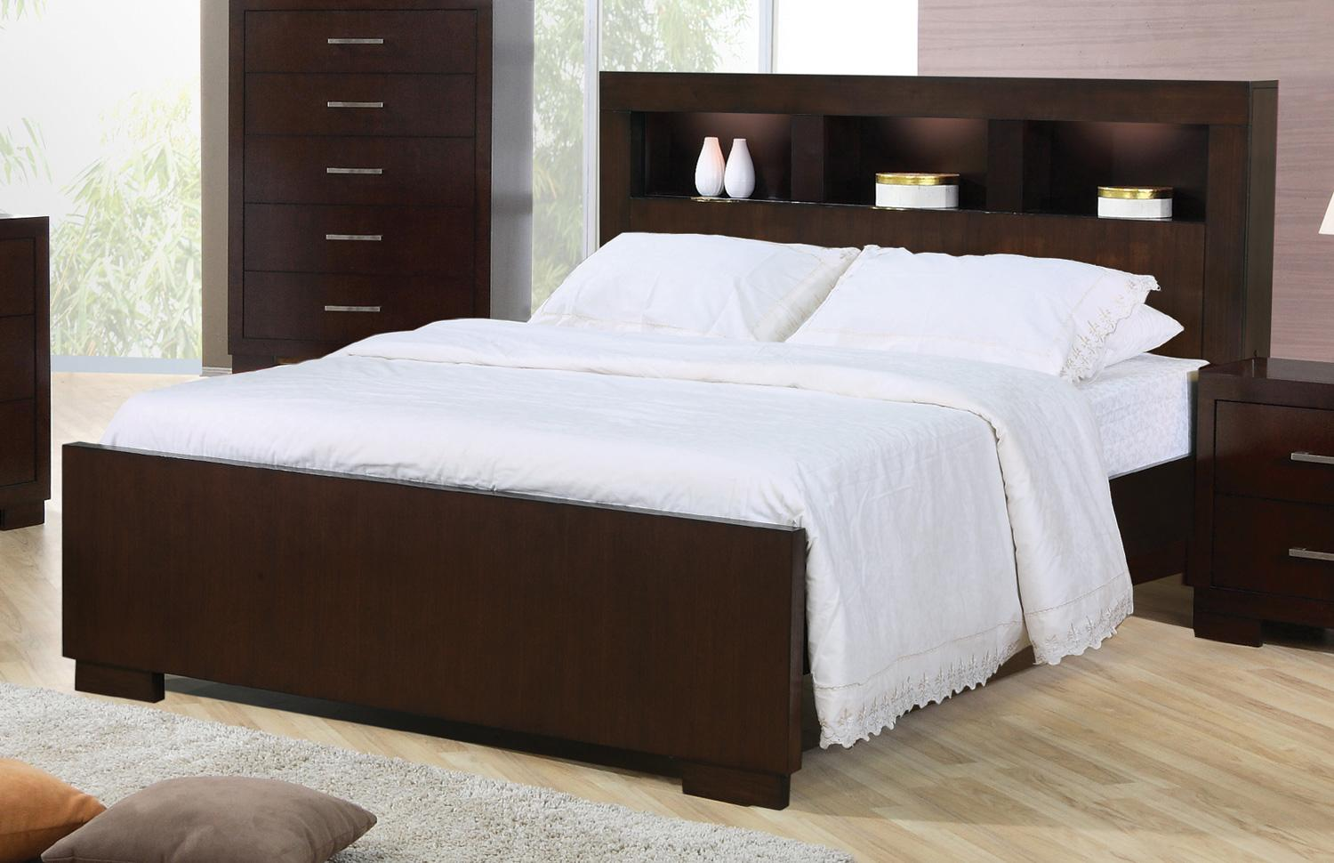 Coaster Jessica 200719kw California King Contemporary Bed With Storage Headboard And Built In Lighting Northeast Factory Direct Bookcase Beds