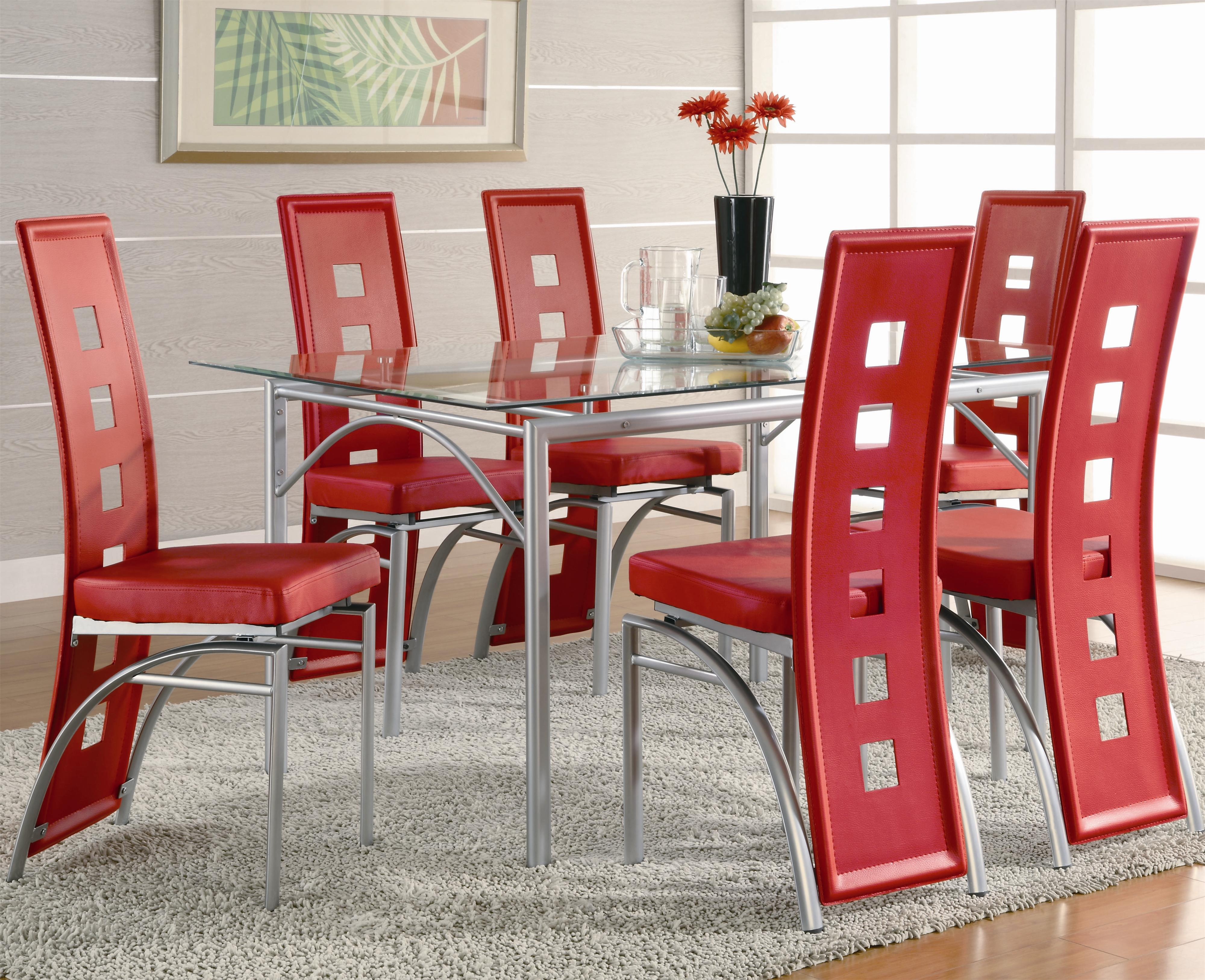 Glass Dining Table And Chairs Los Feliz Contemporary Metal Dinner Table And Red Upholstered Chairs By Coaster At Dunk Bright Furniture
