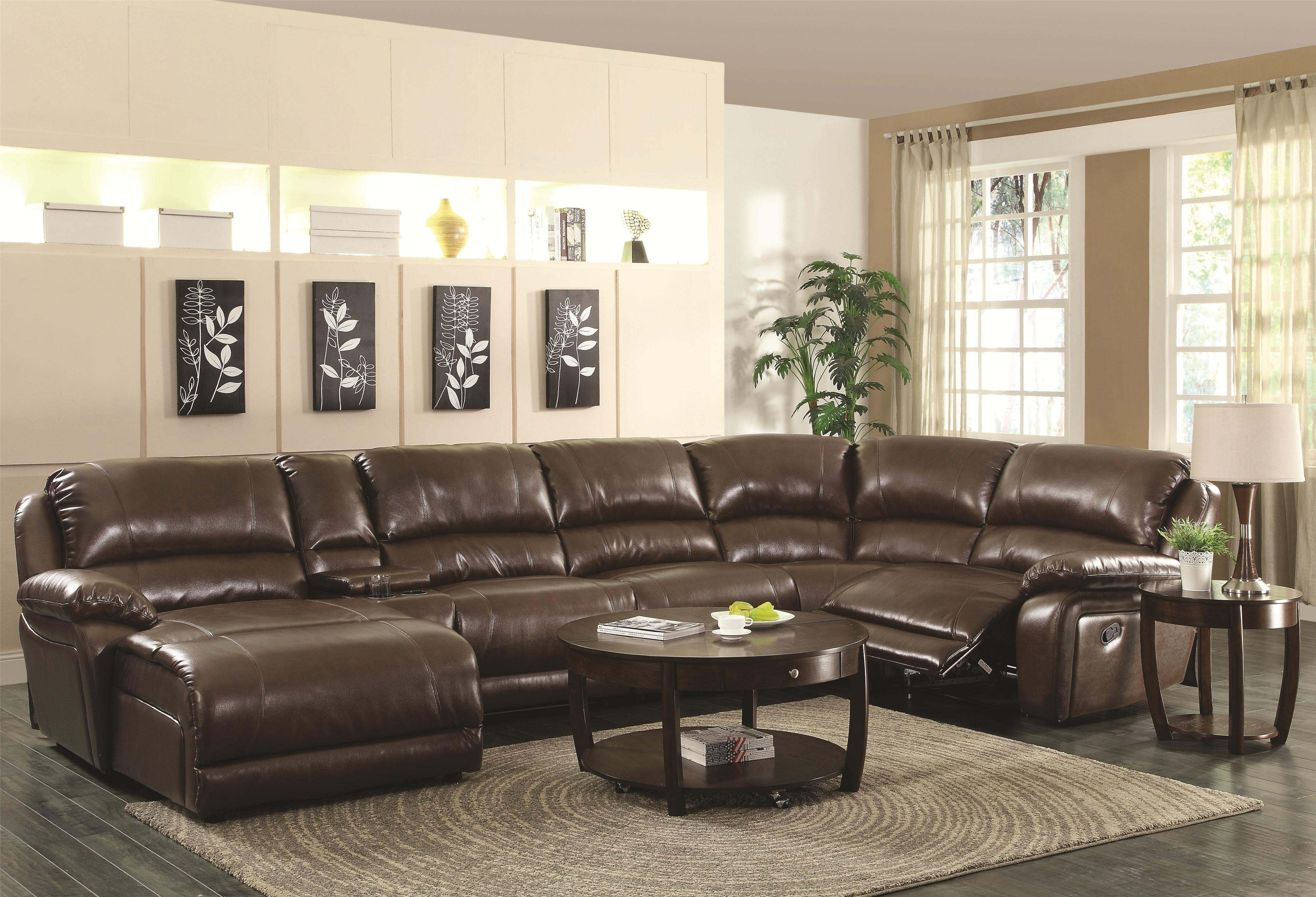 Leather Sectional Sofa Recliner Mackenzie Chestnut 6 Piece Reclining Sectional Sofa With Casual Style By Coaster At Dunk Bright Furniture