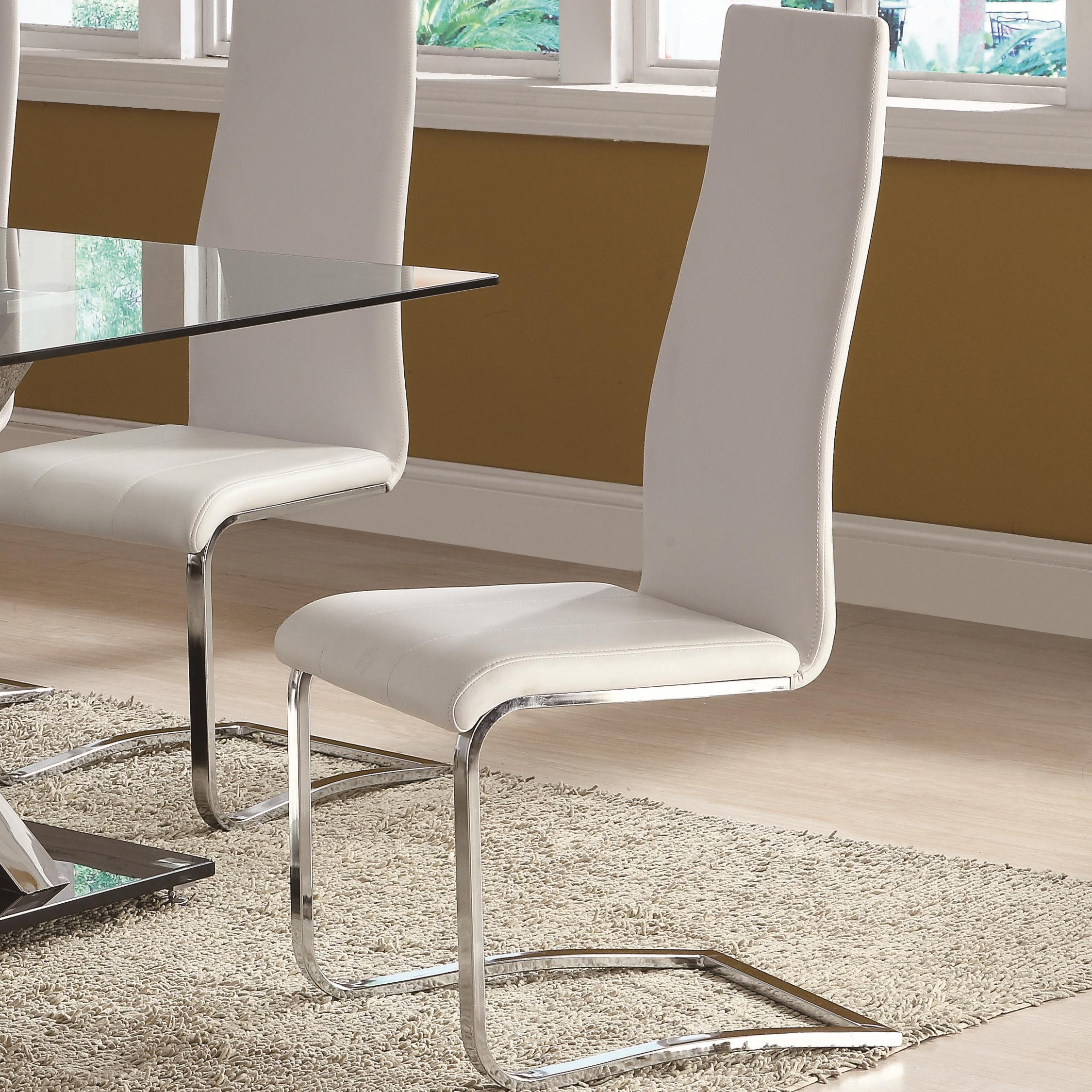 Leather Dining Room Chairs Modern Dining White Faux Leather Dining Chair With Chrome Legs By Coaster At Dunk Bright Furniture