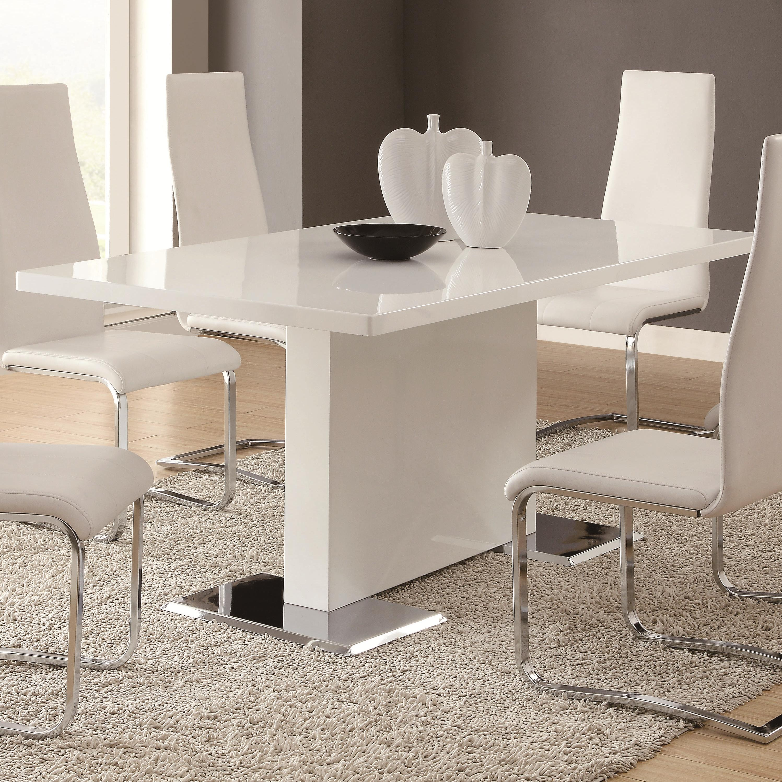 Coaster Modern Dining White Dining Table With Chrome Metal Base Standard Furniture Dining Tables