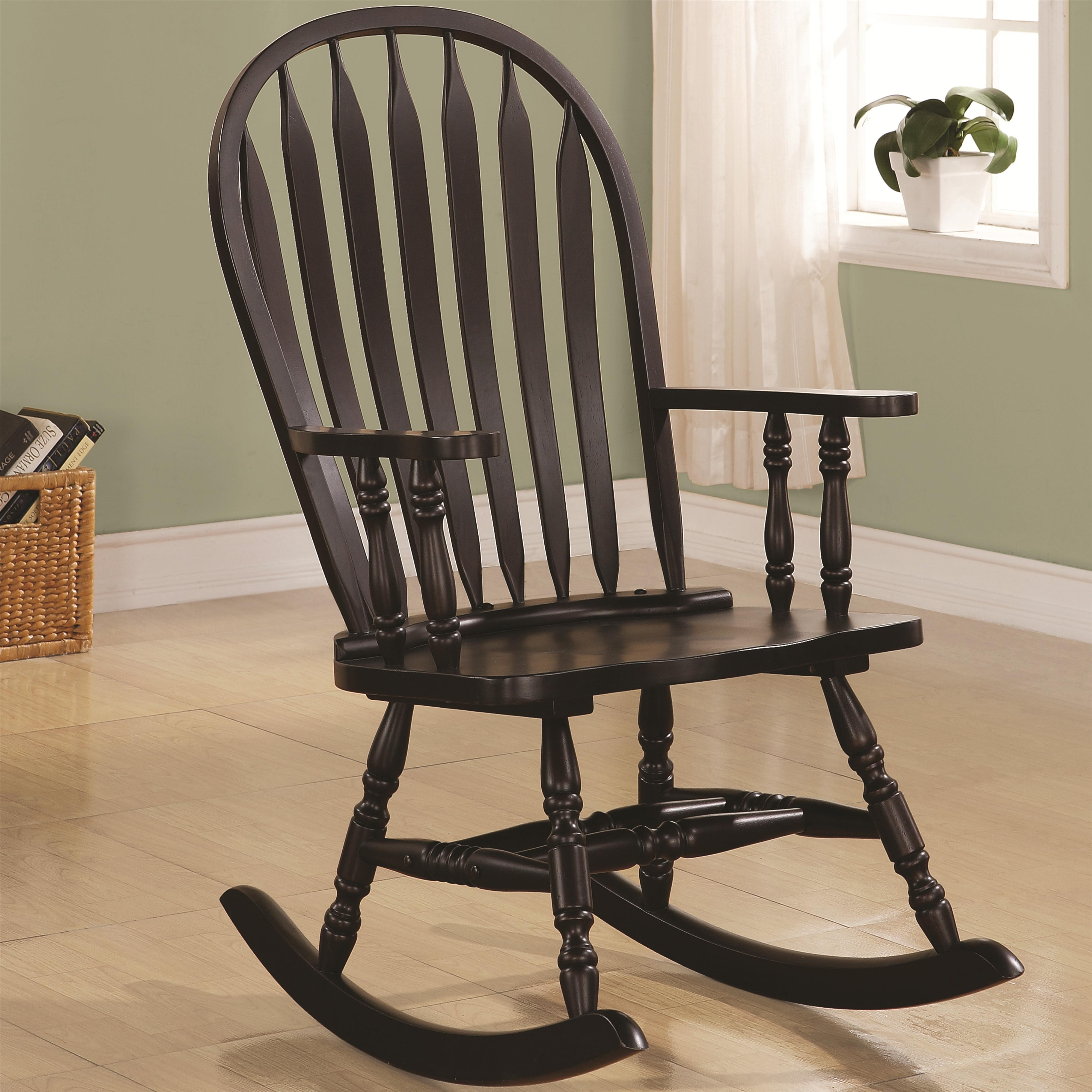 Wood Rocking Chair Rockers Transitional Rocking Chair In Black Finish By Coaster At Value City Furniture