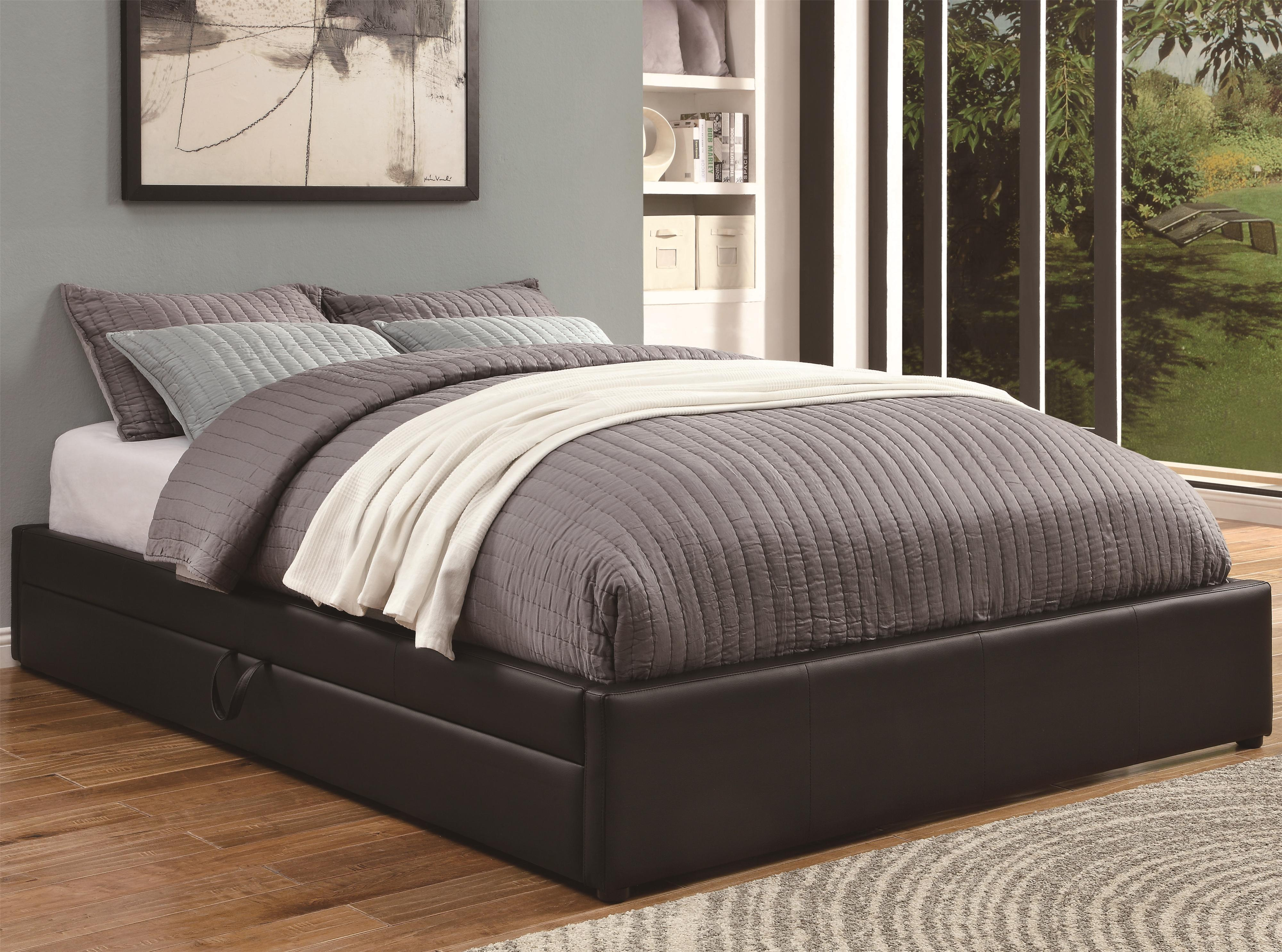 Under Bed Storage Frame Upholstered Beds Queen Storage Bed With Black Leather Like Vinyl By Coaster At Dunk Bright Furniture